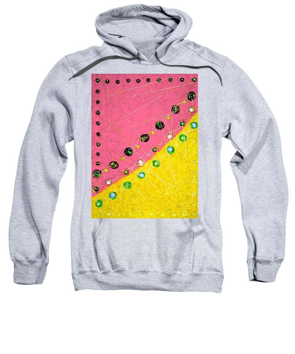 Moveonart! Digital Gallery Sweatshirt featuring the painting Moveonart Orange And Yellow With Mixed Media by Jacob Kanduch
