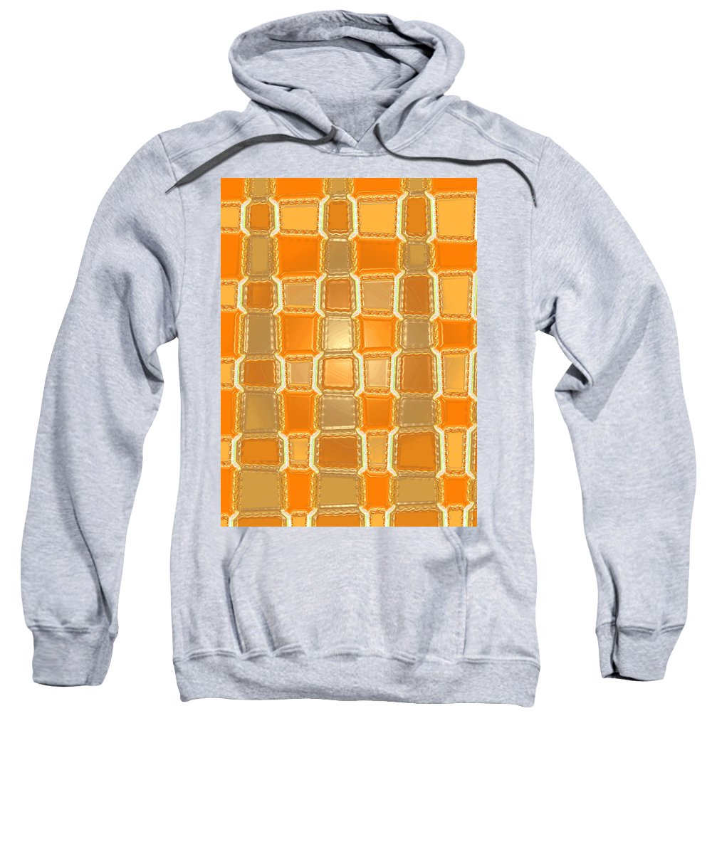 Moveonart! Digital Gallery Sweatshirt featuring the digital art Moveonart Orange Bricks by Jacob Kanduch
