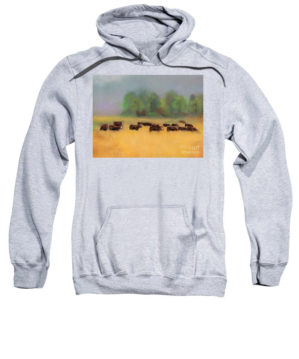 Cattle Sweatshirt featuring the painting Moving On by Frances Marino