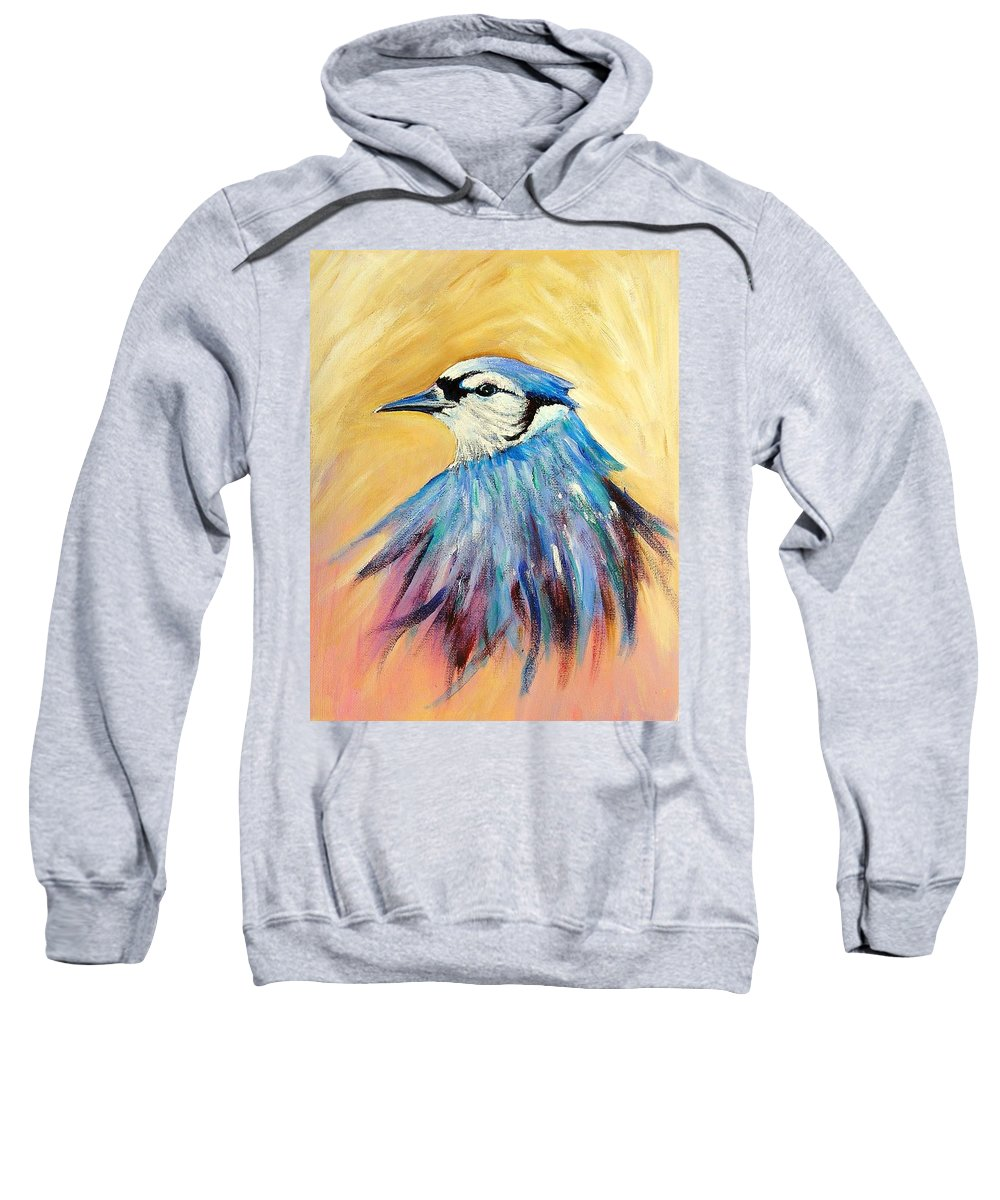 Bluejay Sweatshirt featuring the painting Mr. Blue by Patricia Piffath