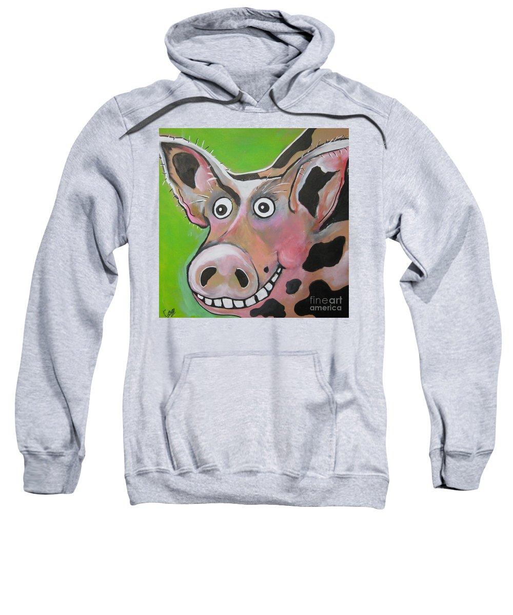 Pig Sweatshirt featuring the painting Mr Pig by Caroline Peacock