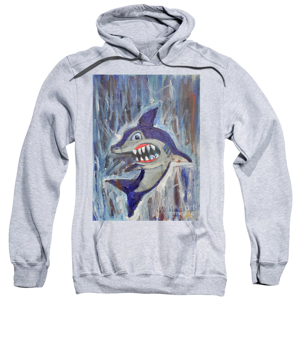 Shark Sweatshirt featuring the painting Mr. Shark by Aj Watson
