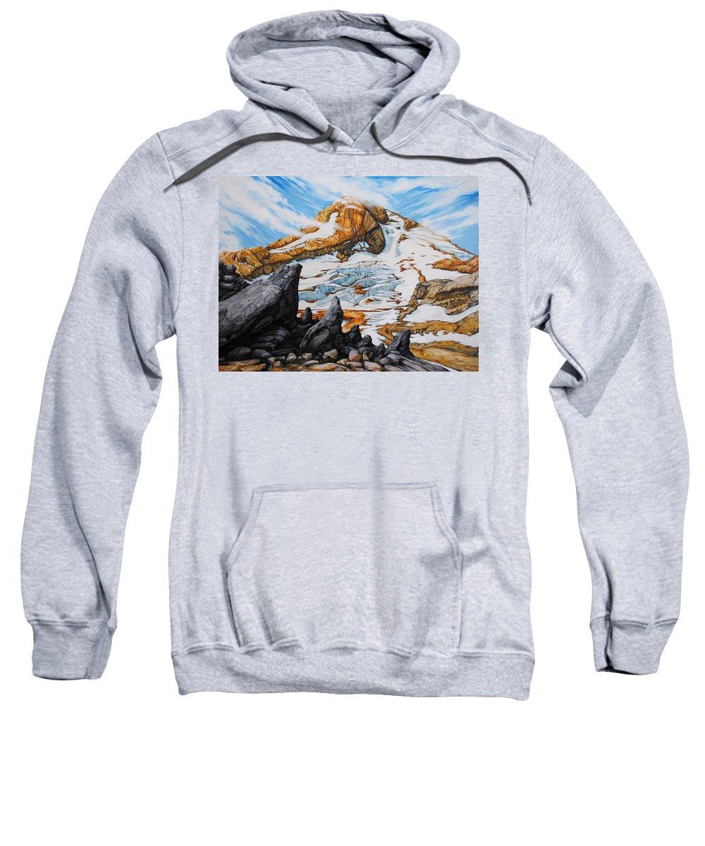 Oregon Sweatshirt featuring the painting Mt. Hood by Chris Steinken