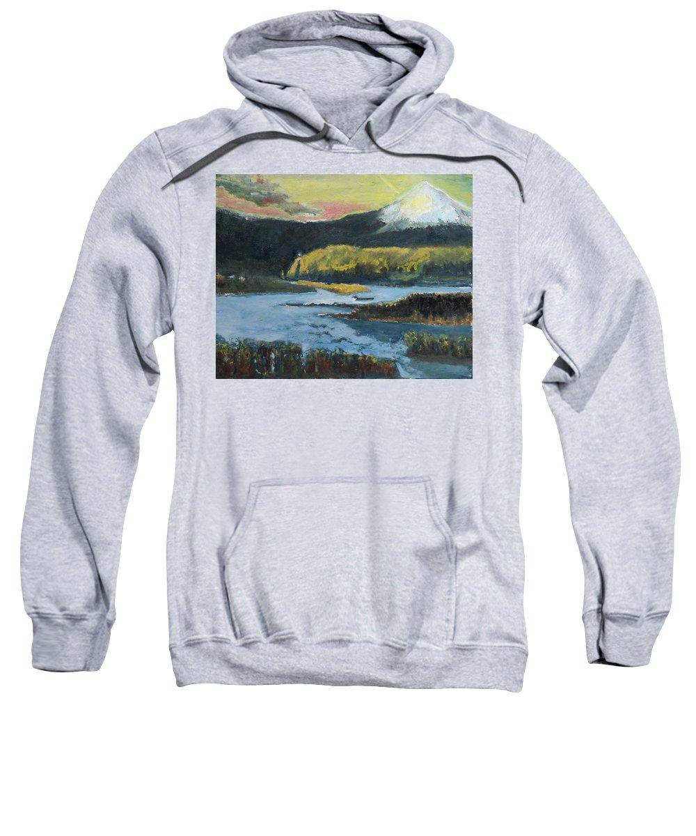 Mt Hood Sweatshirt featuring the painting Mt Hood Dazzle by Craig Newland