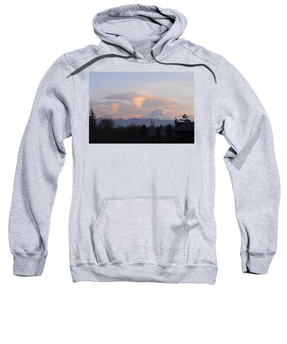 Mountain Sweatshirt featuring the photograph Mt Rainier Lenticular Funnels by Shirley Heyn