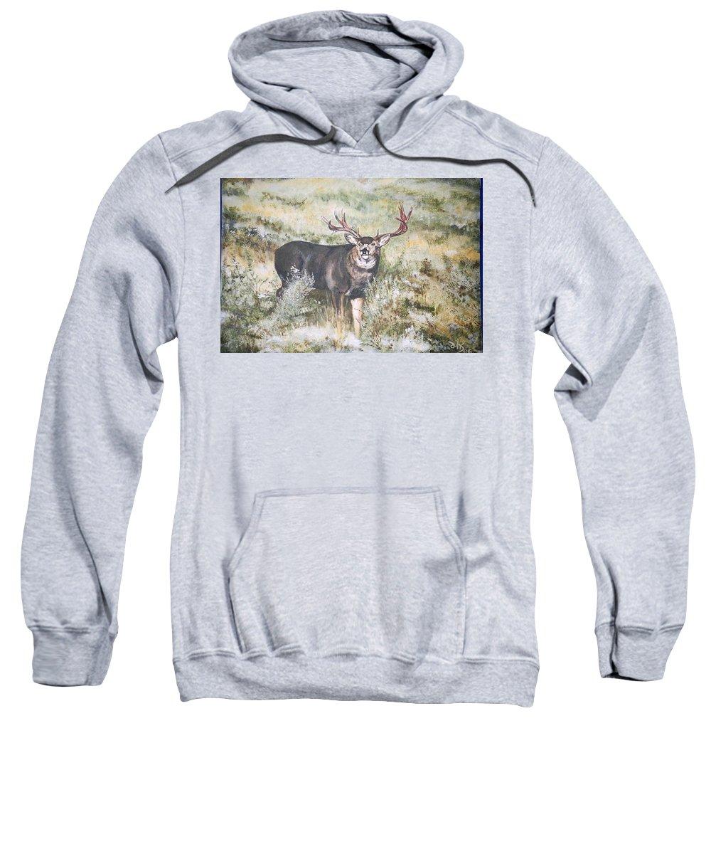 Mule Deer Sweatshirt featuring the painting Muley by Debra Sandstrom