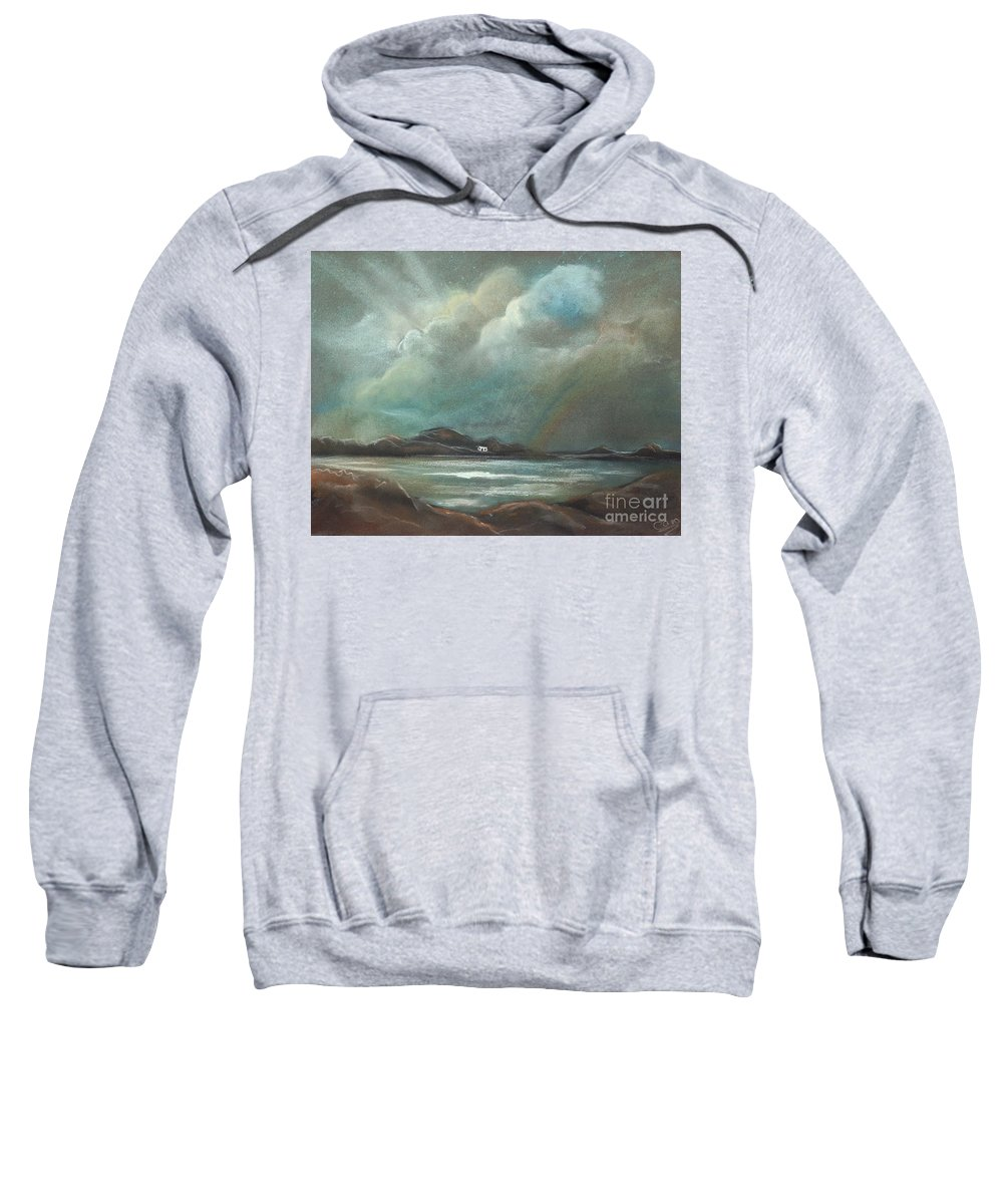 Sea Sweatshirt featuring the pastel Mull From Iona by Caroline Peacock