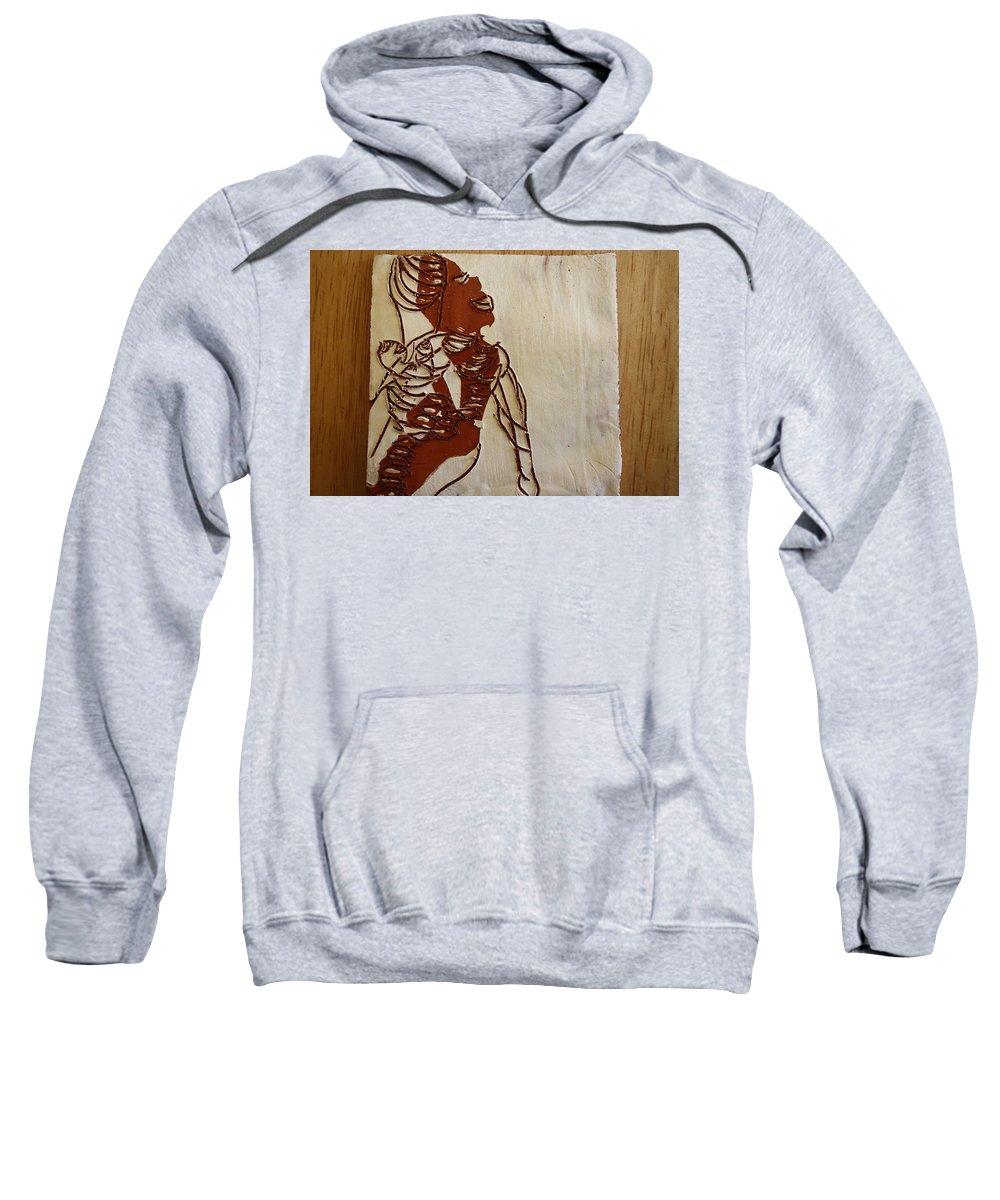 Jesus Sweatshirt featuring the ceramic art Mums Bliss - Tile by Gloria Ssali