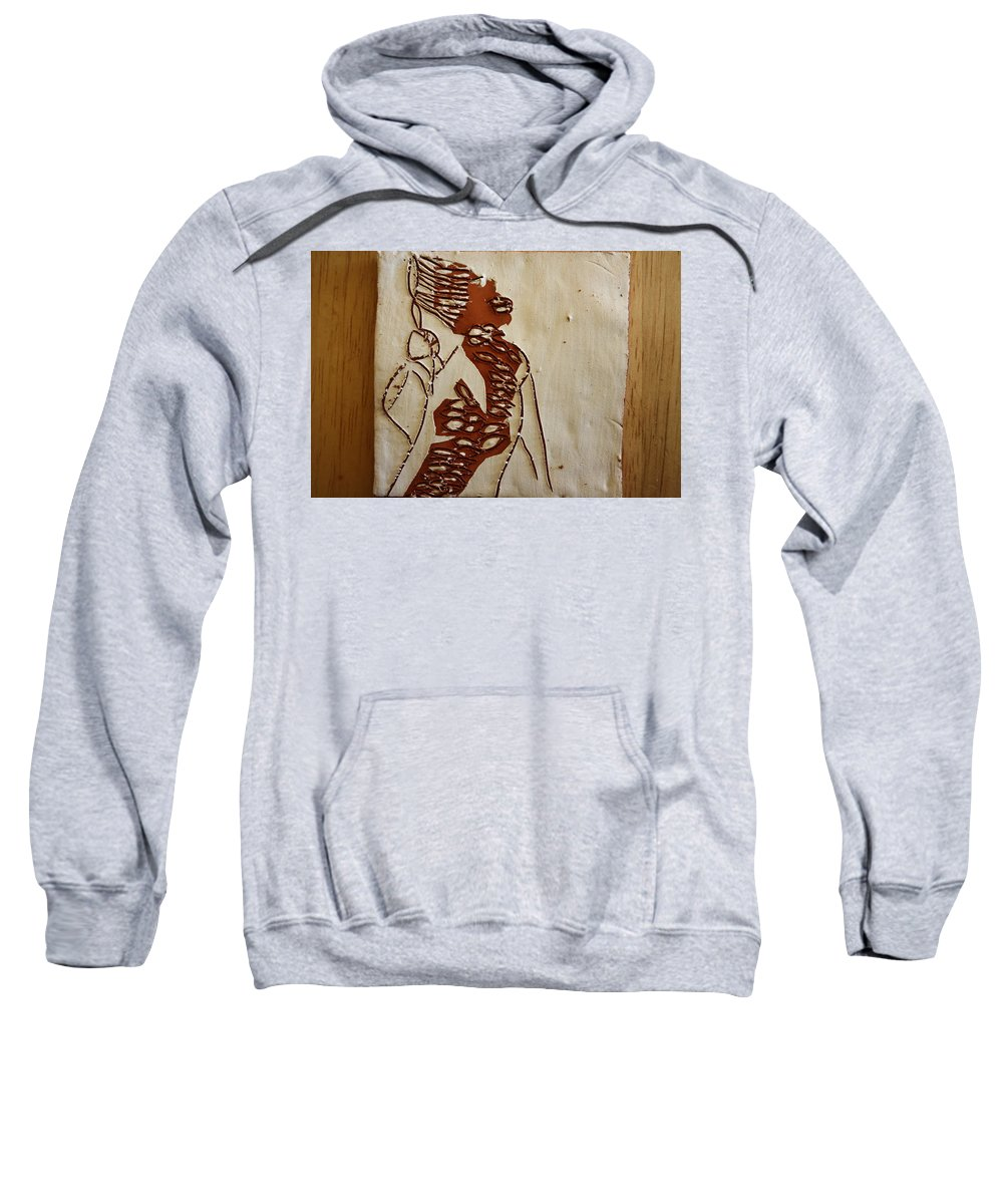 Jesus Sweatshirt featuring the ceramic art Mums Home - Tile by Gloria Ssali
