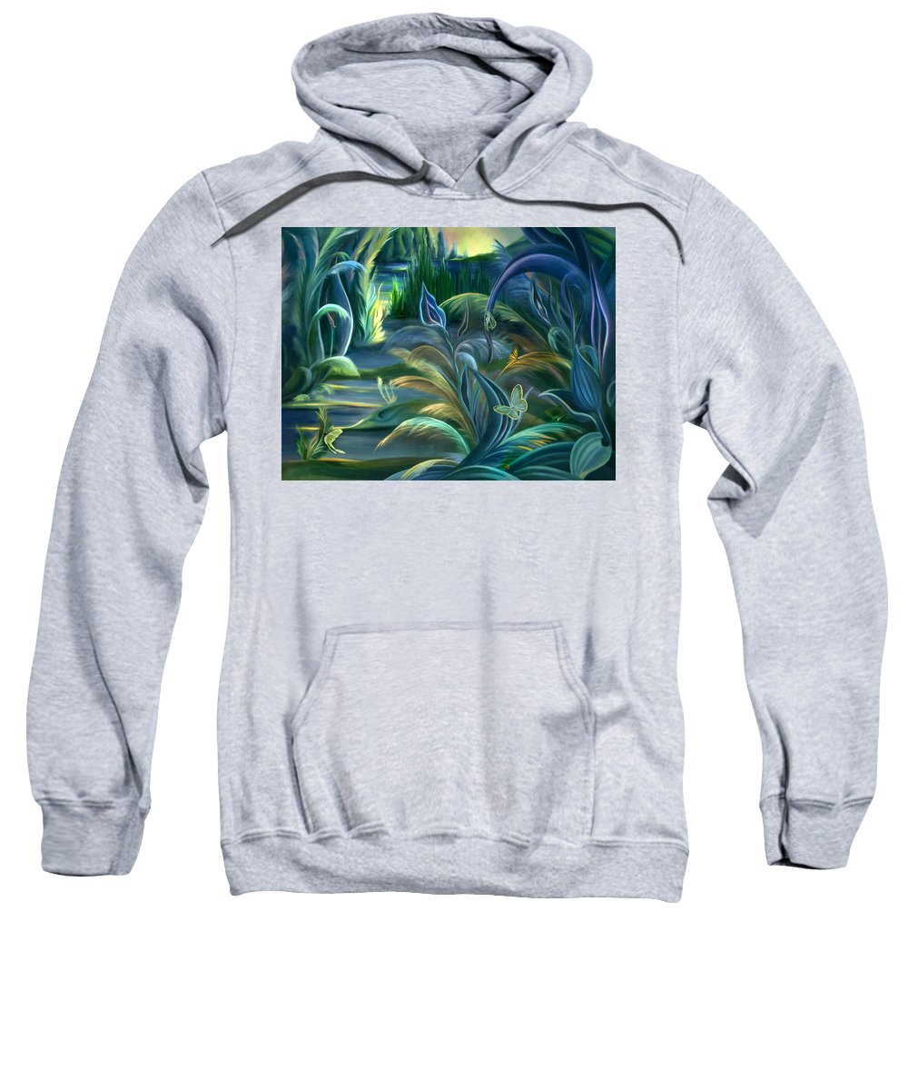 Mural Sweatshirt featuring the painting Mural Insects Of Enchanted Stream by Nancy Griswold