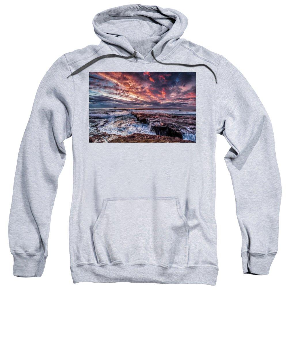 Landscape Sweatshirt featuring the photograph Muriwai Sunset by Steven Hirsch