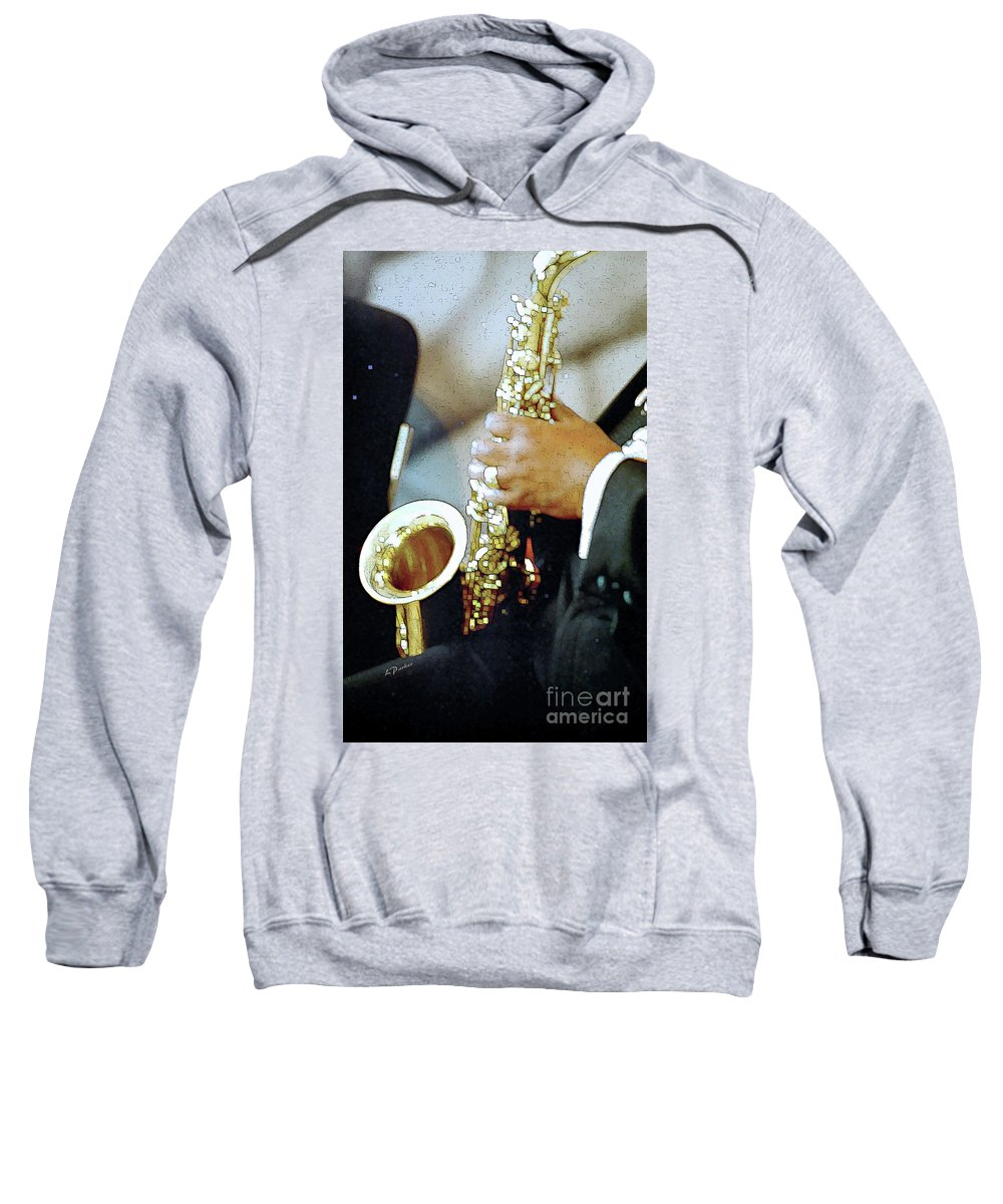 Abstract Sweatshirt featuring the photograph Music Man Saxophone 1 by Linda Parker