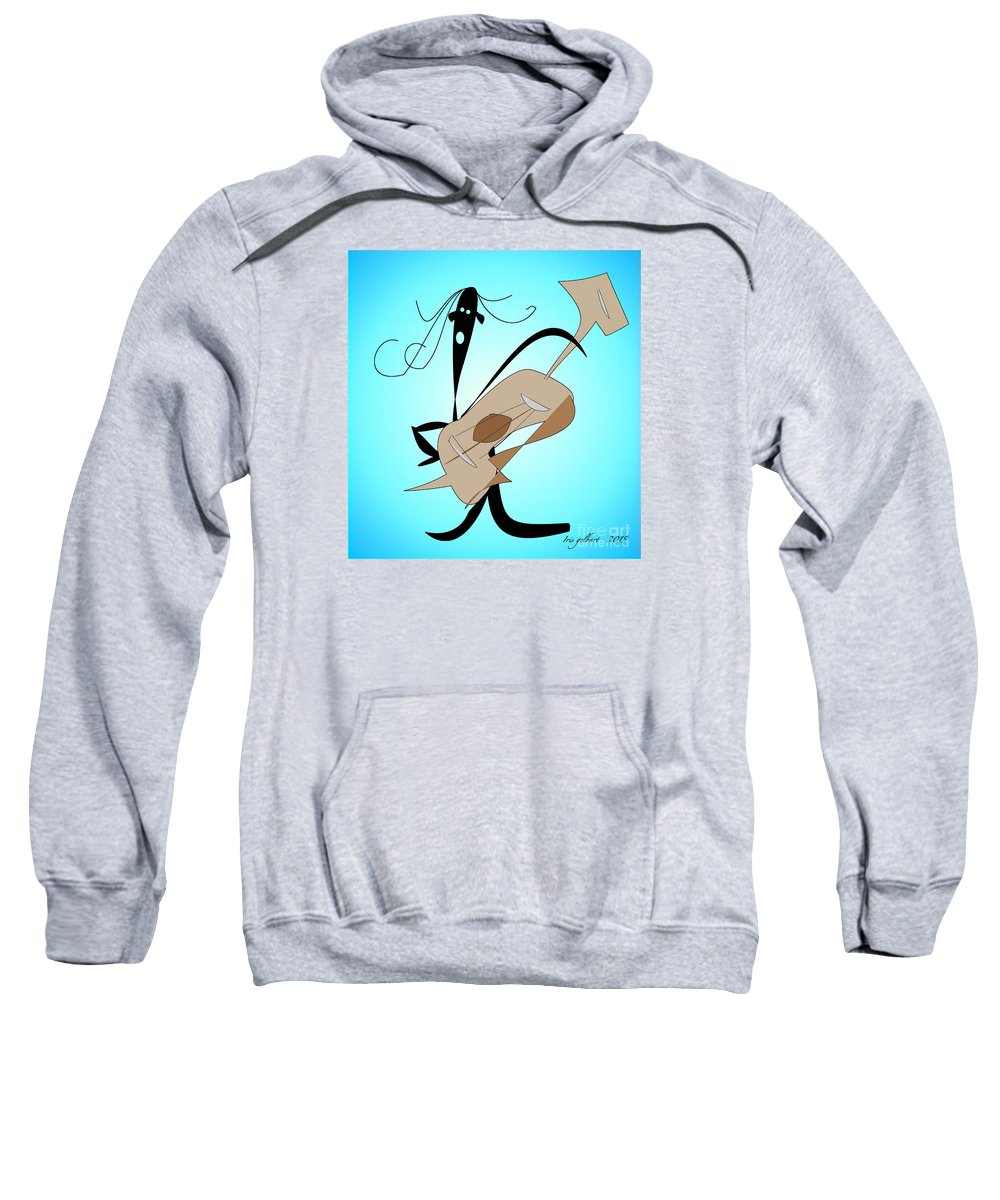Comic Sweatshirt featuring the digital art Music Man by Iris Gelbart