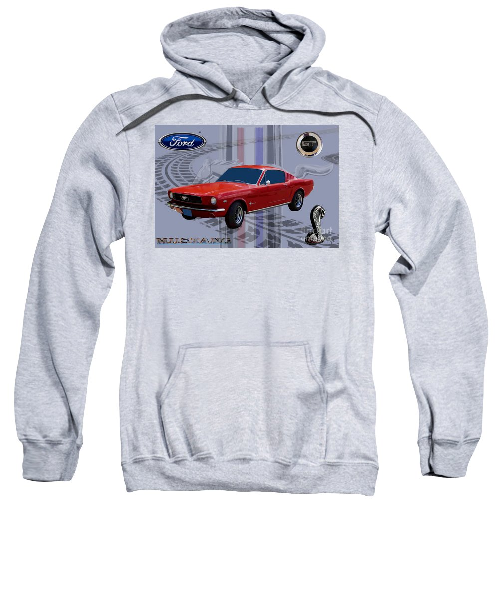 Ford Sweatshirt featuring the digital art Mustang Poster by Tommy Anderson
