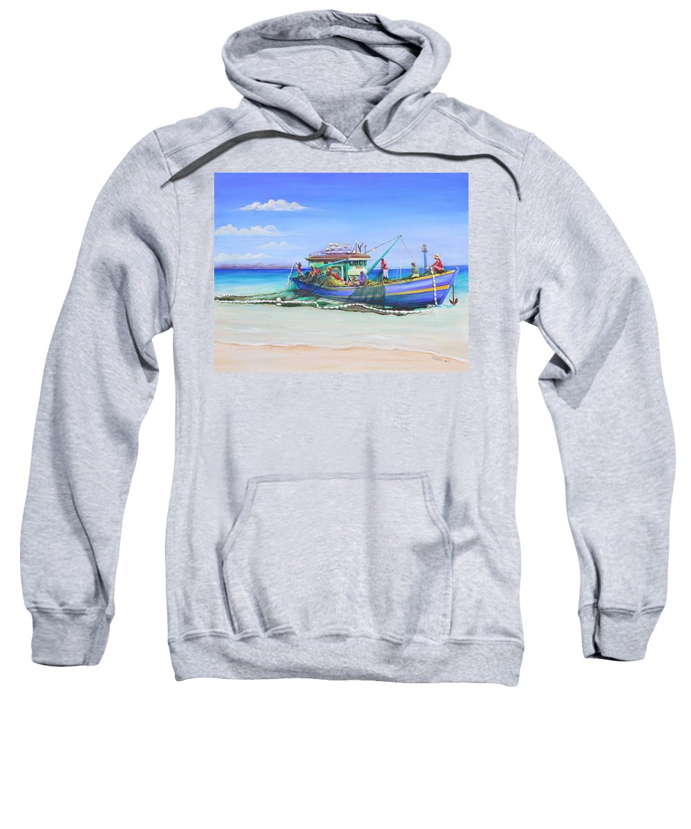 Boat Sweatshirt featuring the painting Mv Alice Mary by Patricia Piffath