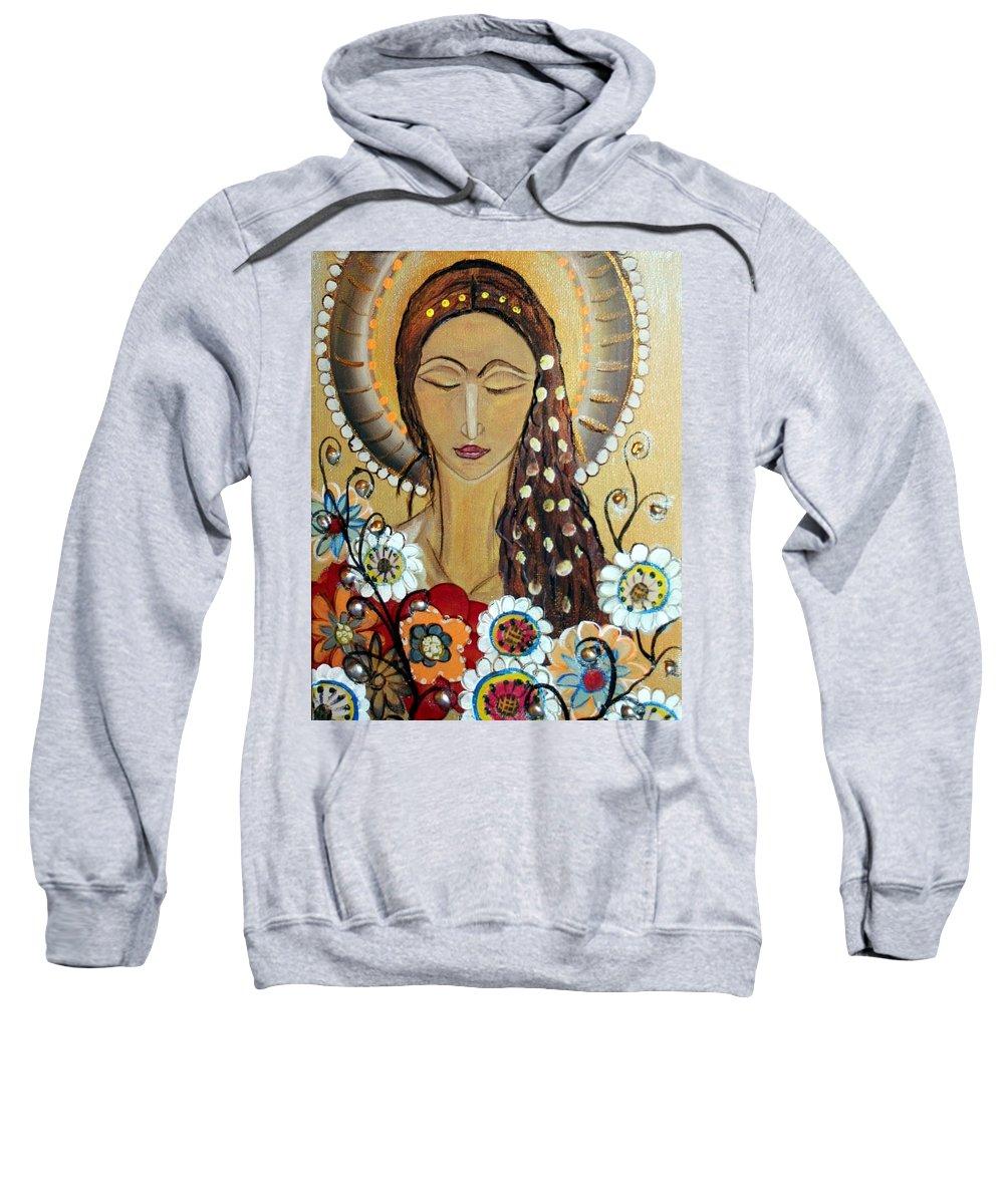 Art Sweatshirt featuring the painting My Angel Modern Icon by Luiza Vizoli