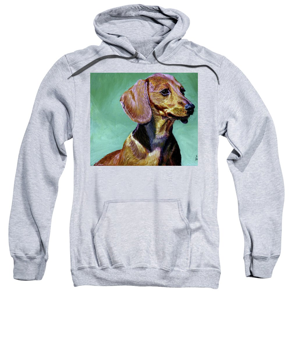Daschund Sweatshirt featuring the painting My Daschund by Stan Hamilton