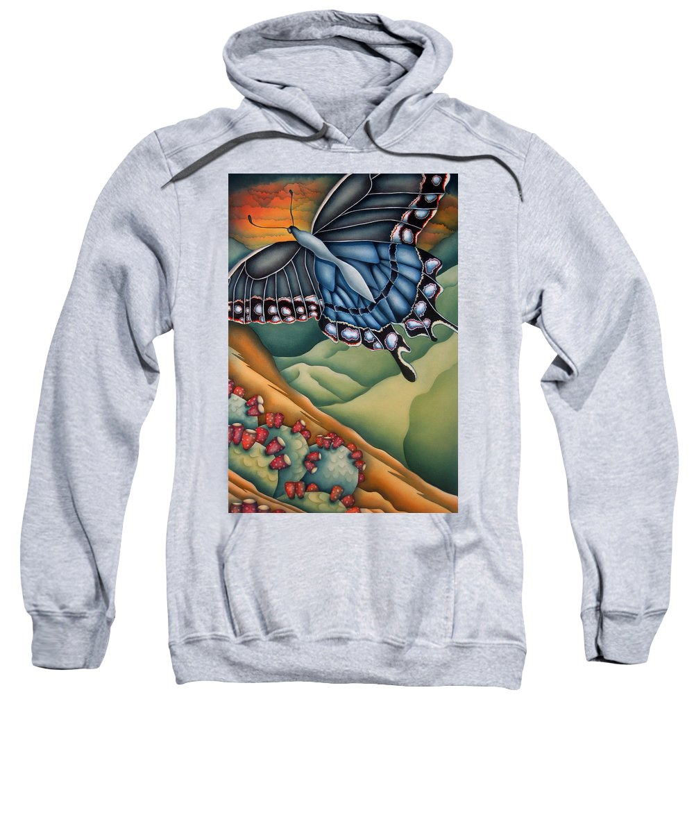 Butterfly Sweatshirt featuring the painting My Favorite Canyon by Jeniffer Stapher-Thomas