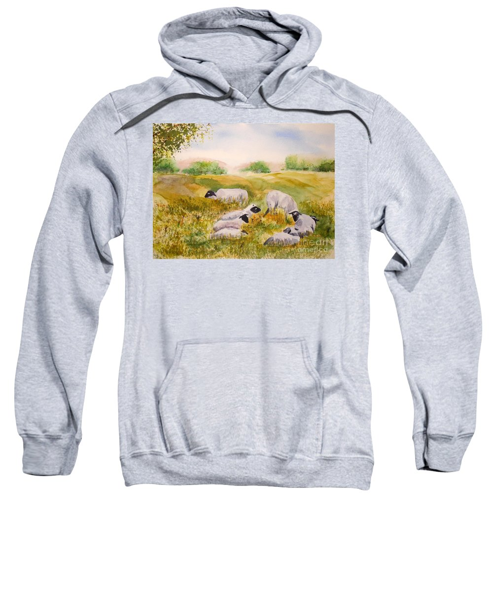 Sheep Sweatshirt featuring the painting My Flock Of Sheep by Vicki Housel