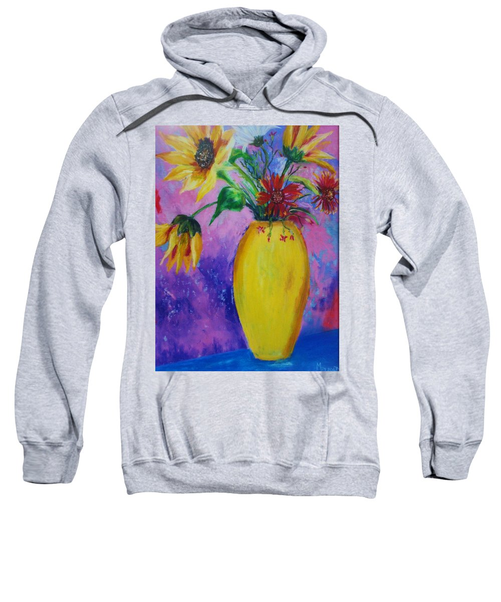 Sunflowers Sweatshirt featuring the painting My Flowers by Melinda Etzold