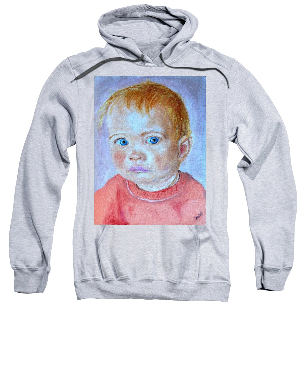 Leonie Sweatshirt featuring the painting My granddaughter Leonie by Helmut Rottler