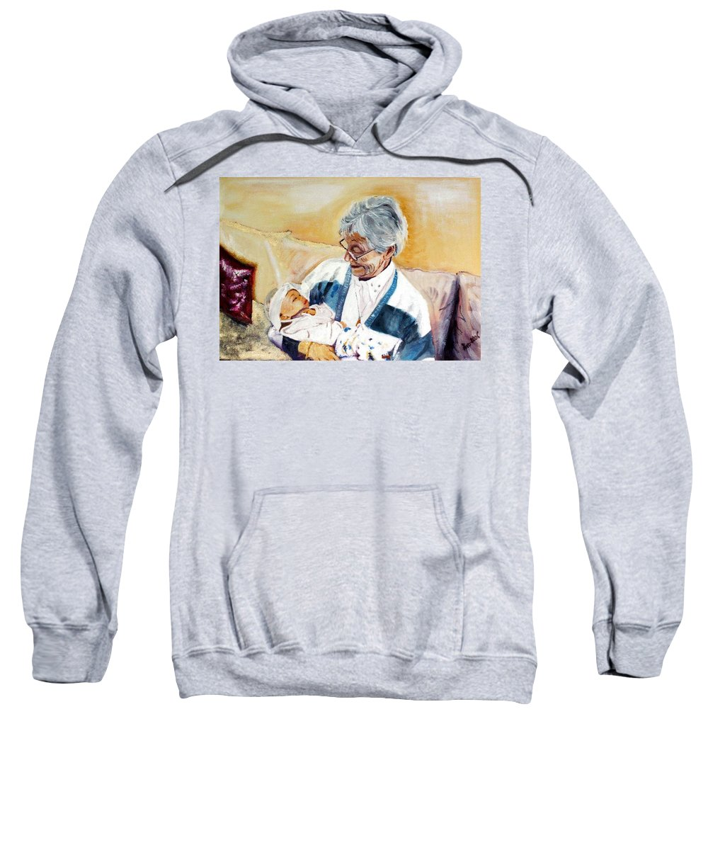 Portrait Sweatshirt featuring the painting my granddaughter Leonie with her great grandmum by Helmut Rottler