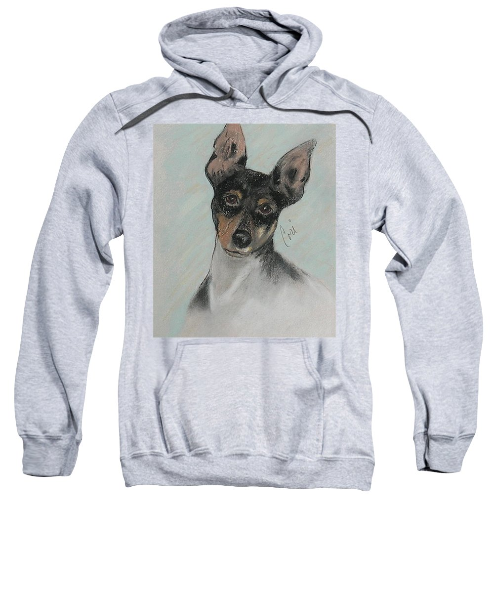 Toy Fox Terrier Sweatshirt featuring the drawing My Oh My by Cori Solomon