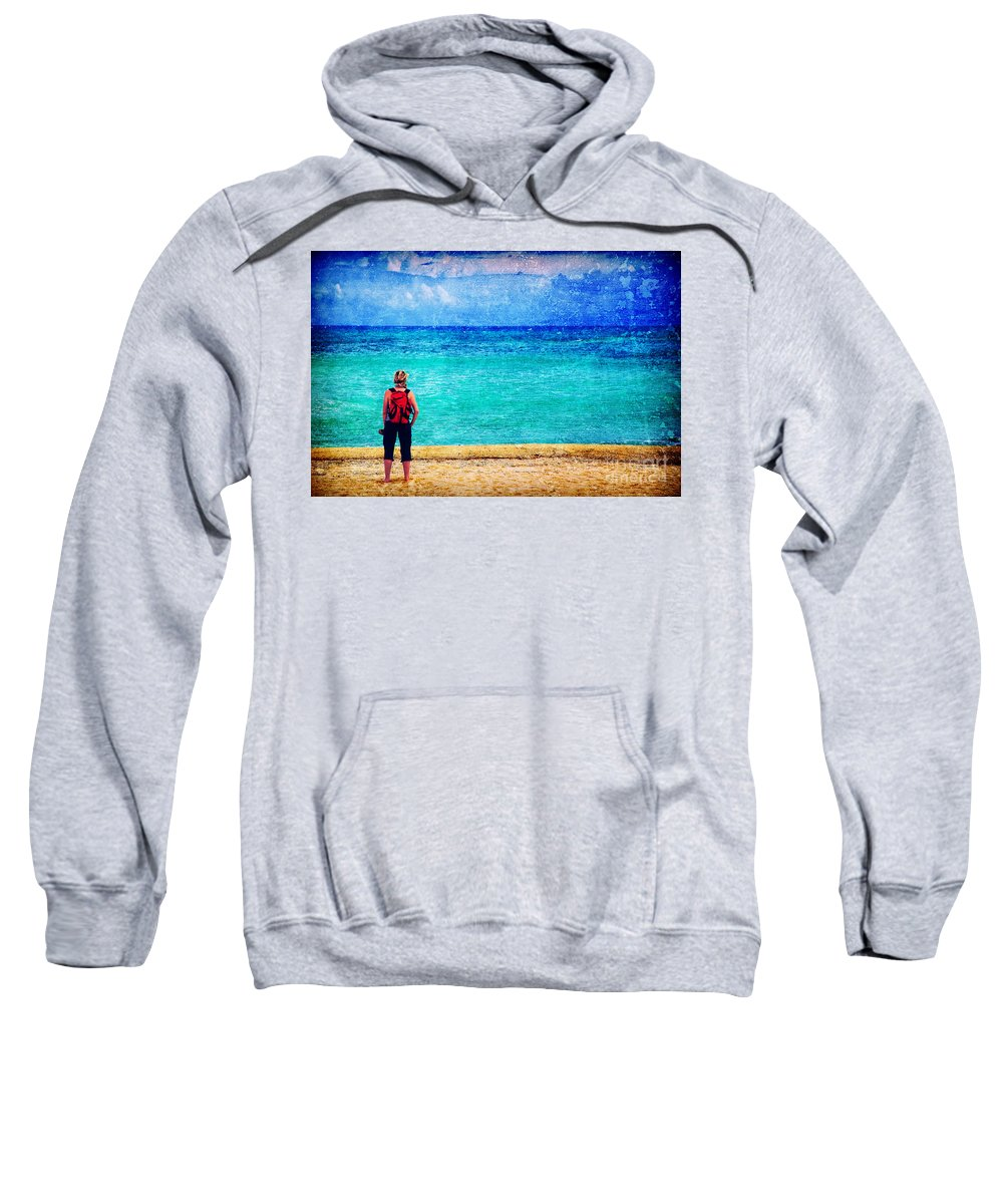 Sea Sweatshirt featuring the photograph My Thoughts Are Like Sea Waves by Silvia Ganora