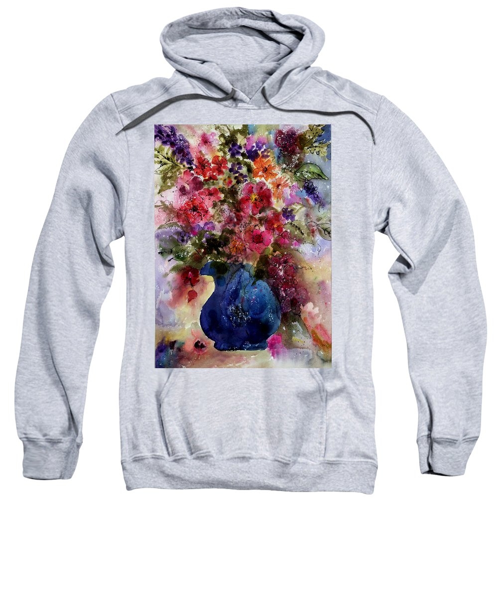 Floral Sweatshirt featuring the painting My Wildflowers by Barbara Colangelo