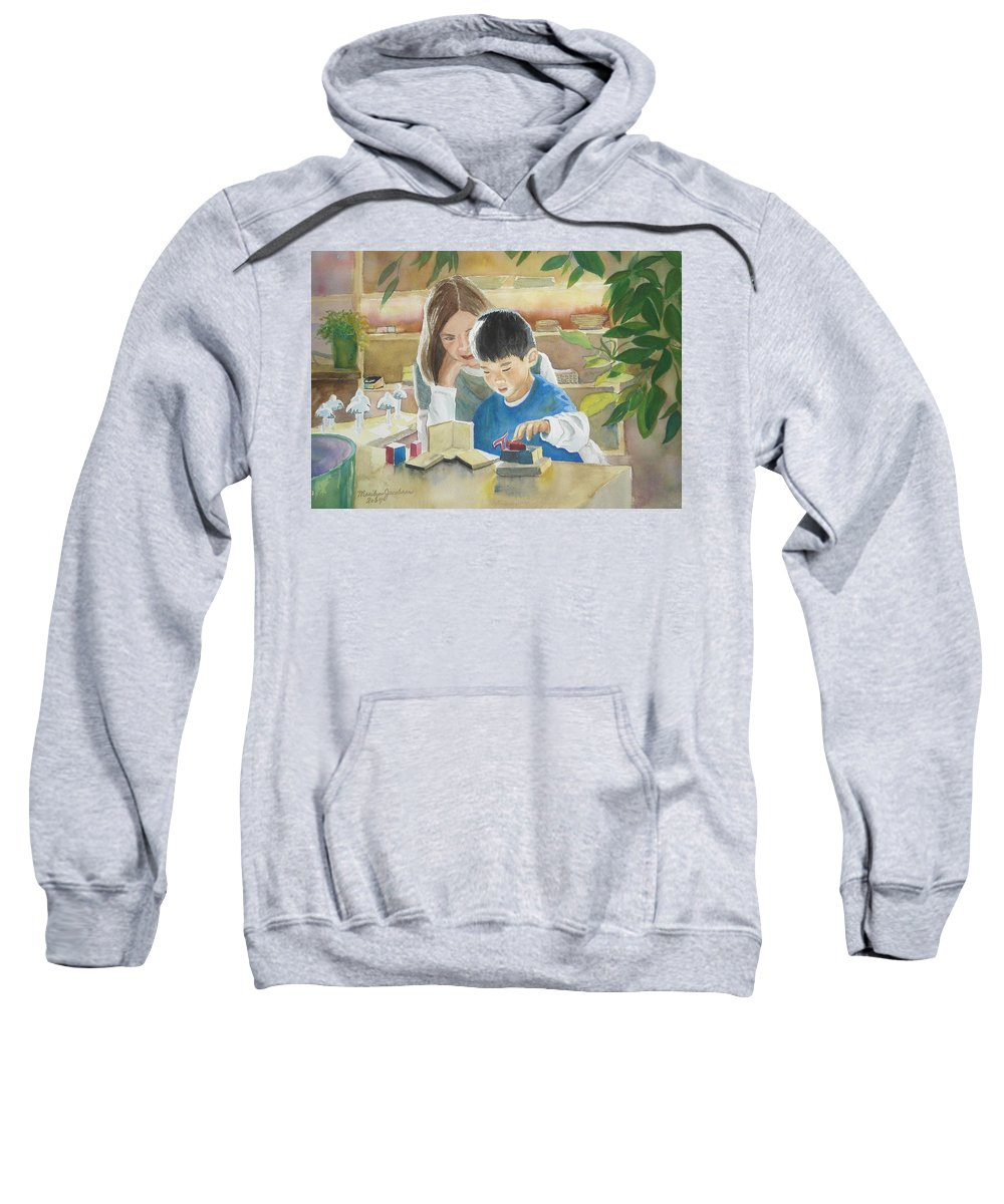 Boy Sweatshirt featuring the painting My Work by Marilyn Jacobson