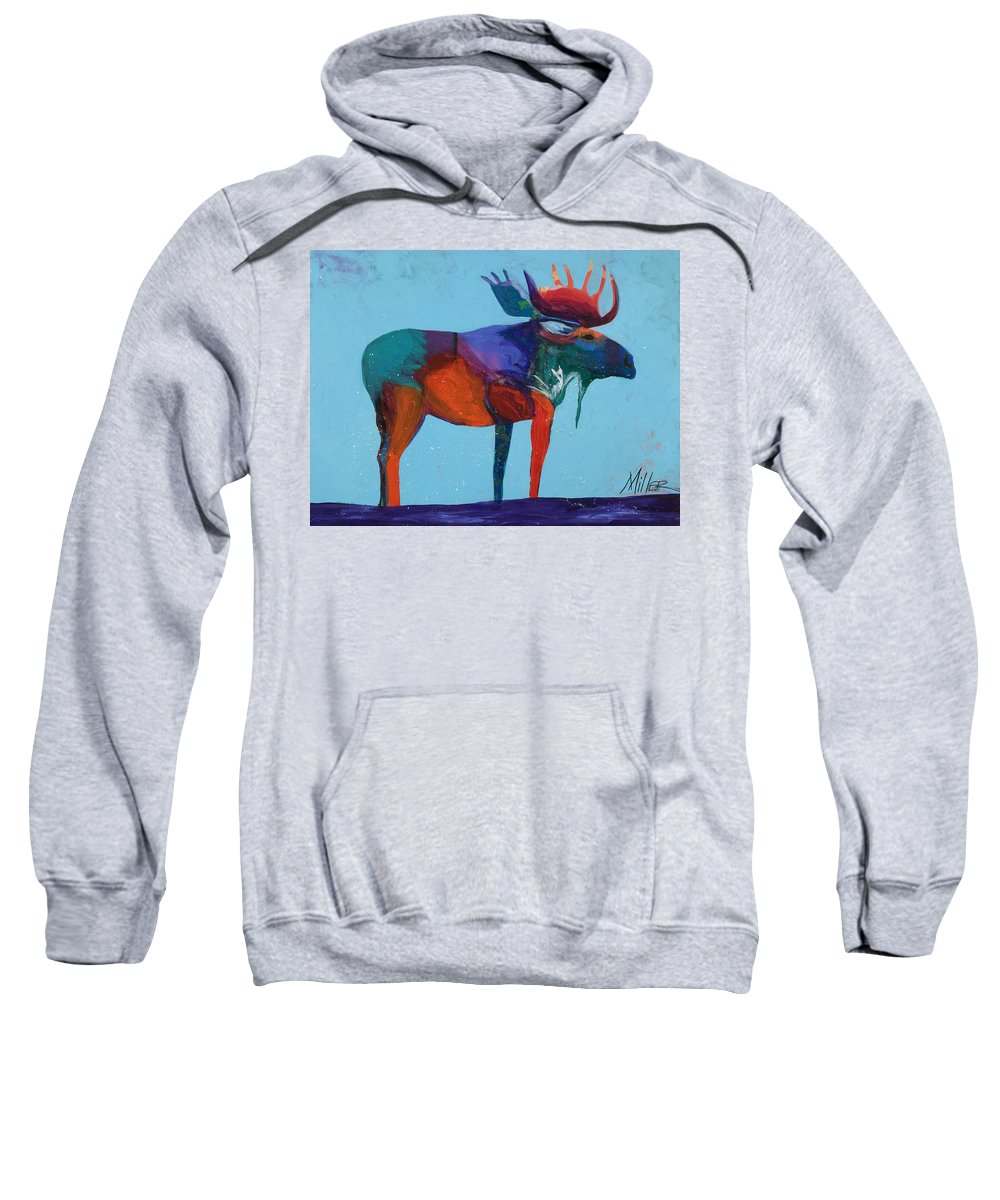 Moose Sweatshirt featuring the painting Mystic Moose by Tracy Miller