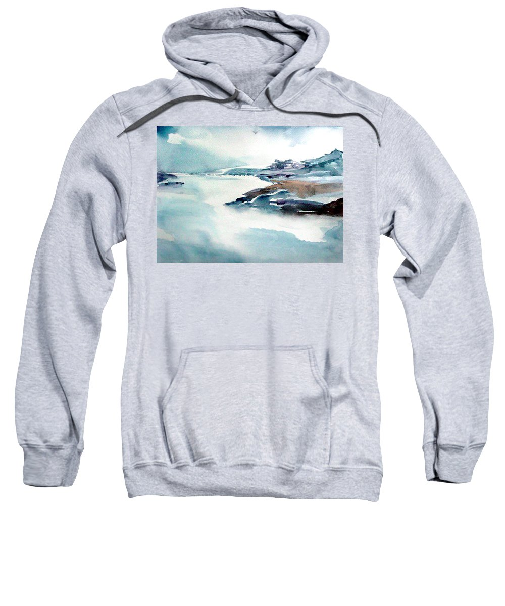 River Sweatshirt featuring the painting Mystic River by Anil Nene