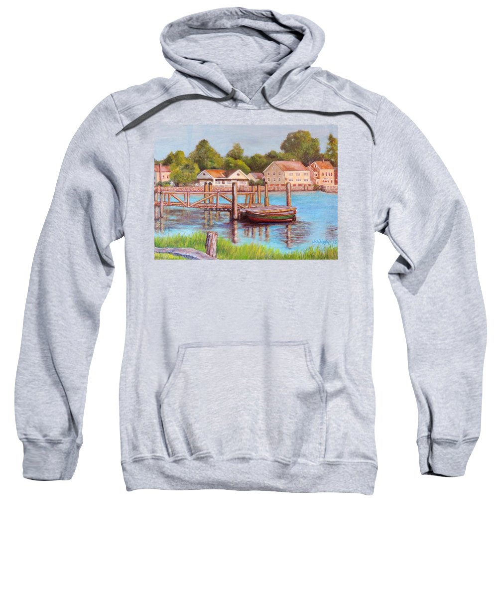Boat Sweatshirt featuring the painting Mystic River View by Jodi Higgins