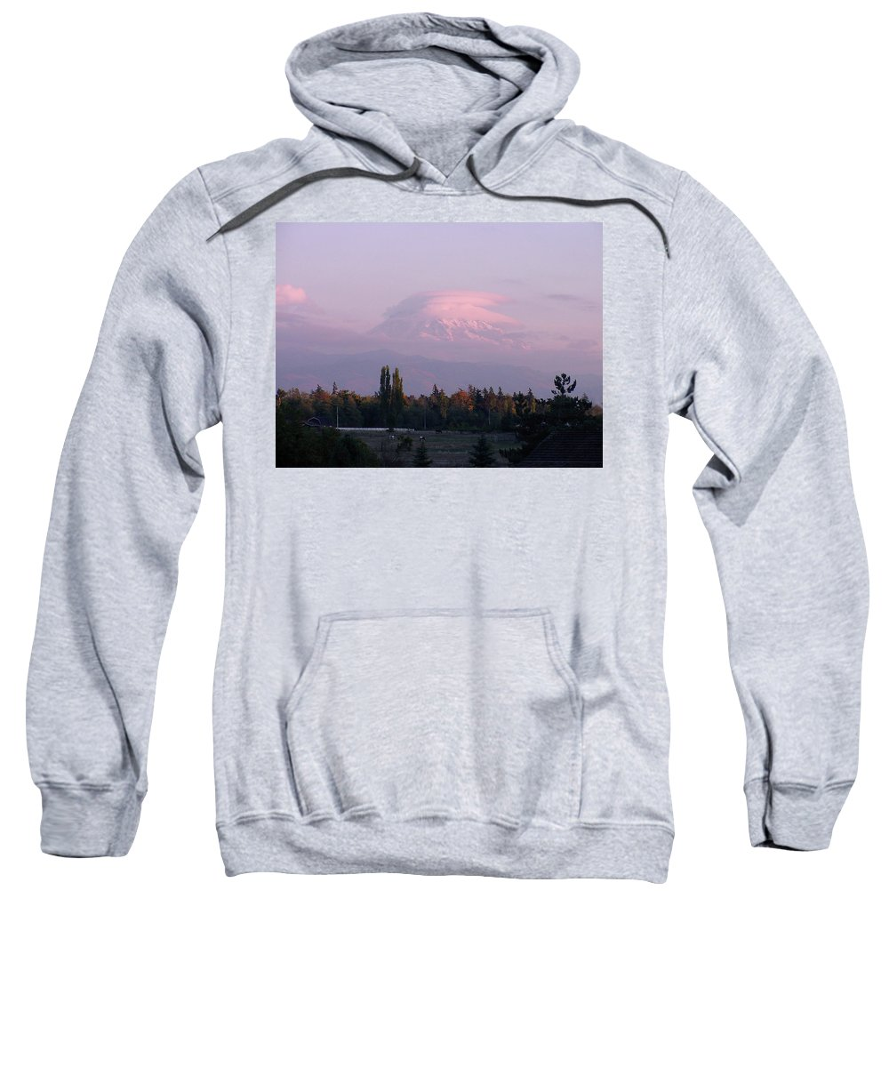 Mountain Sweatshirt featuring the photograph Mystical Mt Tahoma by Shirley Heyn