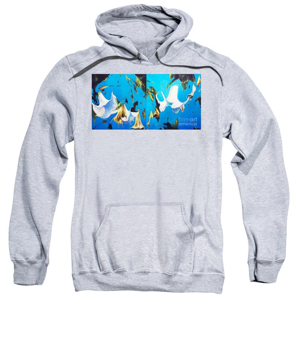 Lin Petershagen Sweatshirt featuring the painting Mysticoblue by Lin Petershagen