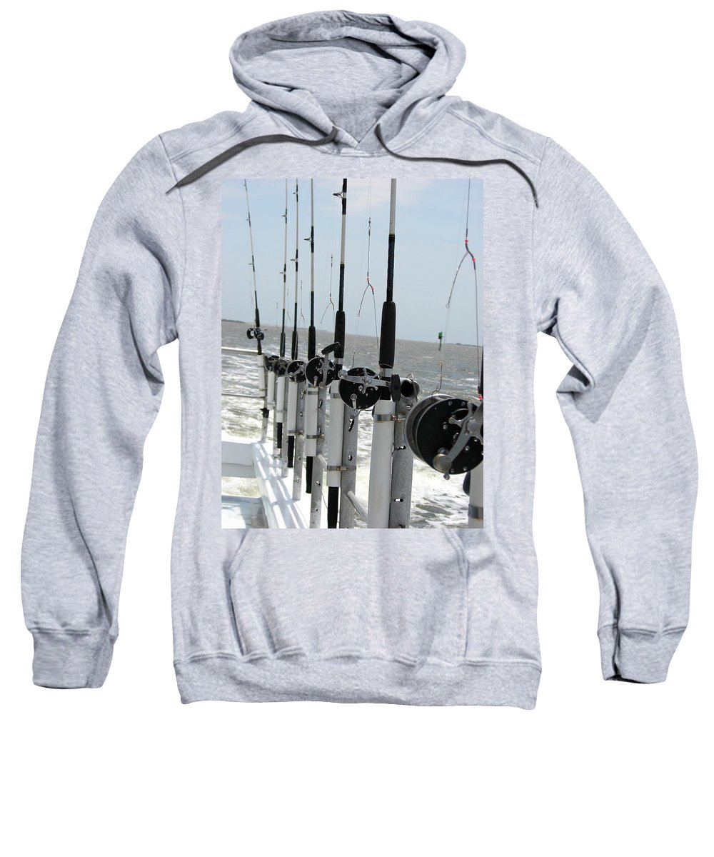 Nags Head Sweatshirt featuring the photograph Nags Head Nc Fishing Poles by Brett Winn
