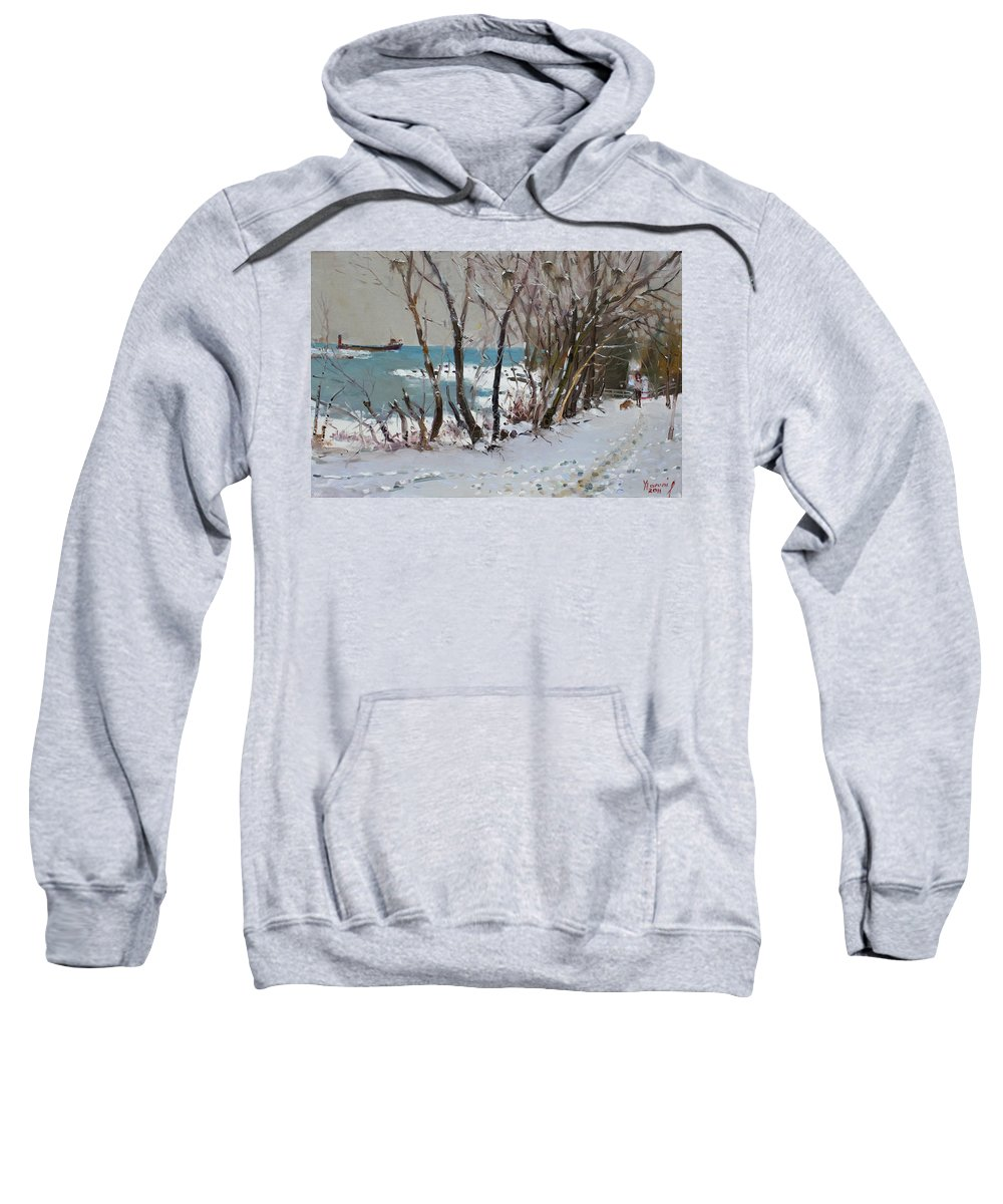 Lake Shore Mississauga Sweatshirt featuring the painting Naked Trees By The Lake Shore by Ylli Haruni