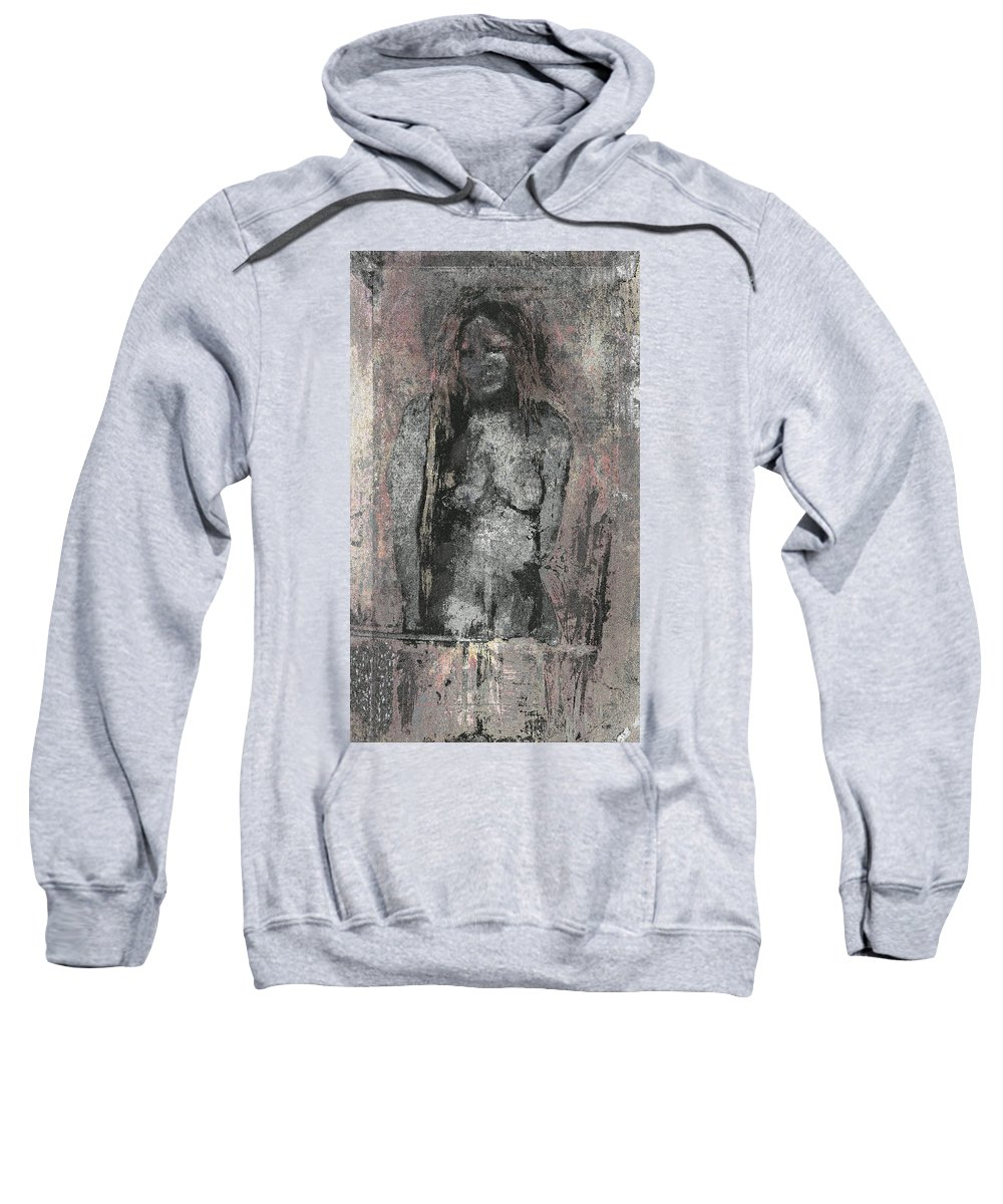 Sweatshirt featuring the painting Naked Woman But Not Sexy Woman N.2 by Kamran Rouhani