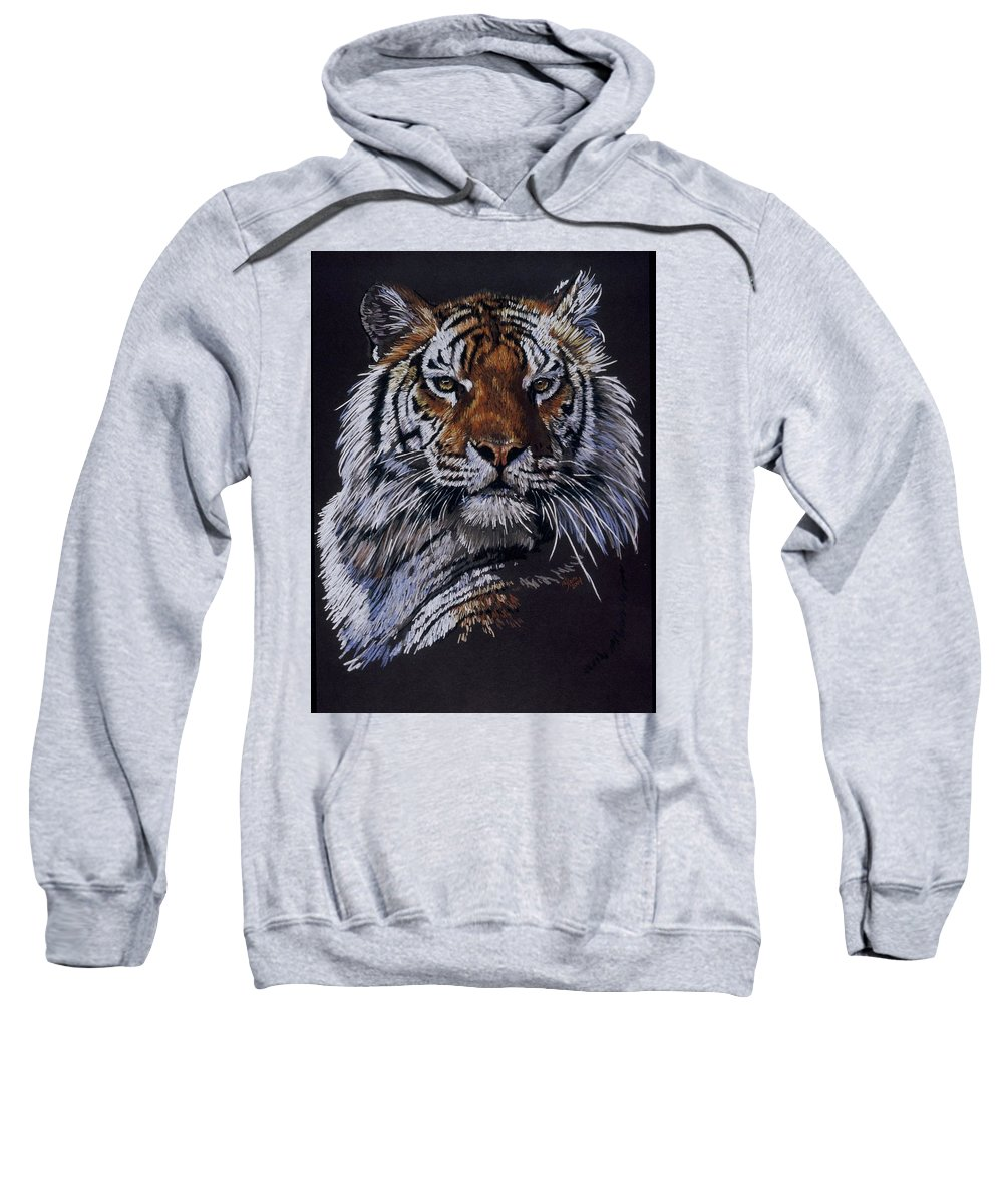Tiger Sweatshirt featuring the drawing Nakita by Barbara Keith