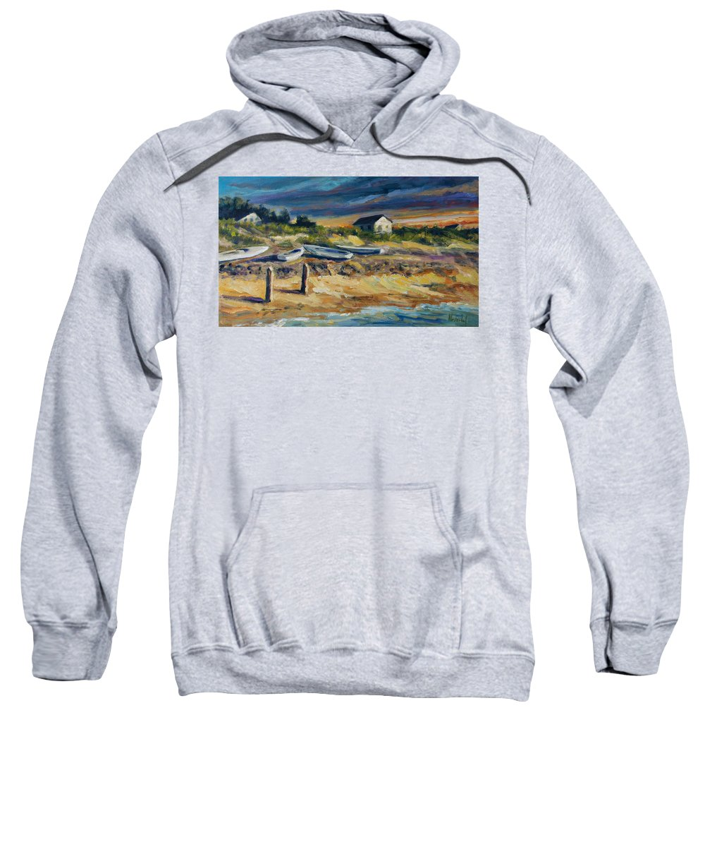 Stormy Clouds Sweatshirt featuring the painting Nantucket by Rick Nederlof