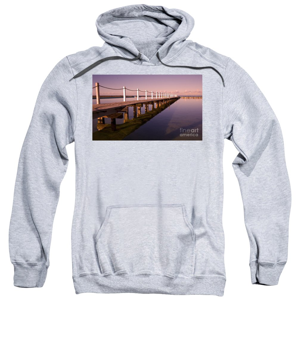 Narrabeen Sydney Sunrise Wharf Walkway Sweatshirt featuring the photograph Narrabeen Sunrise by Sheila Smart Fine Art Photography