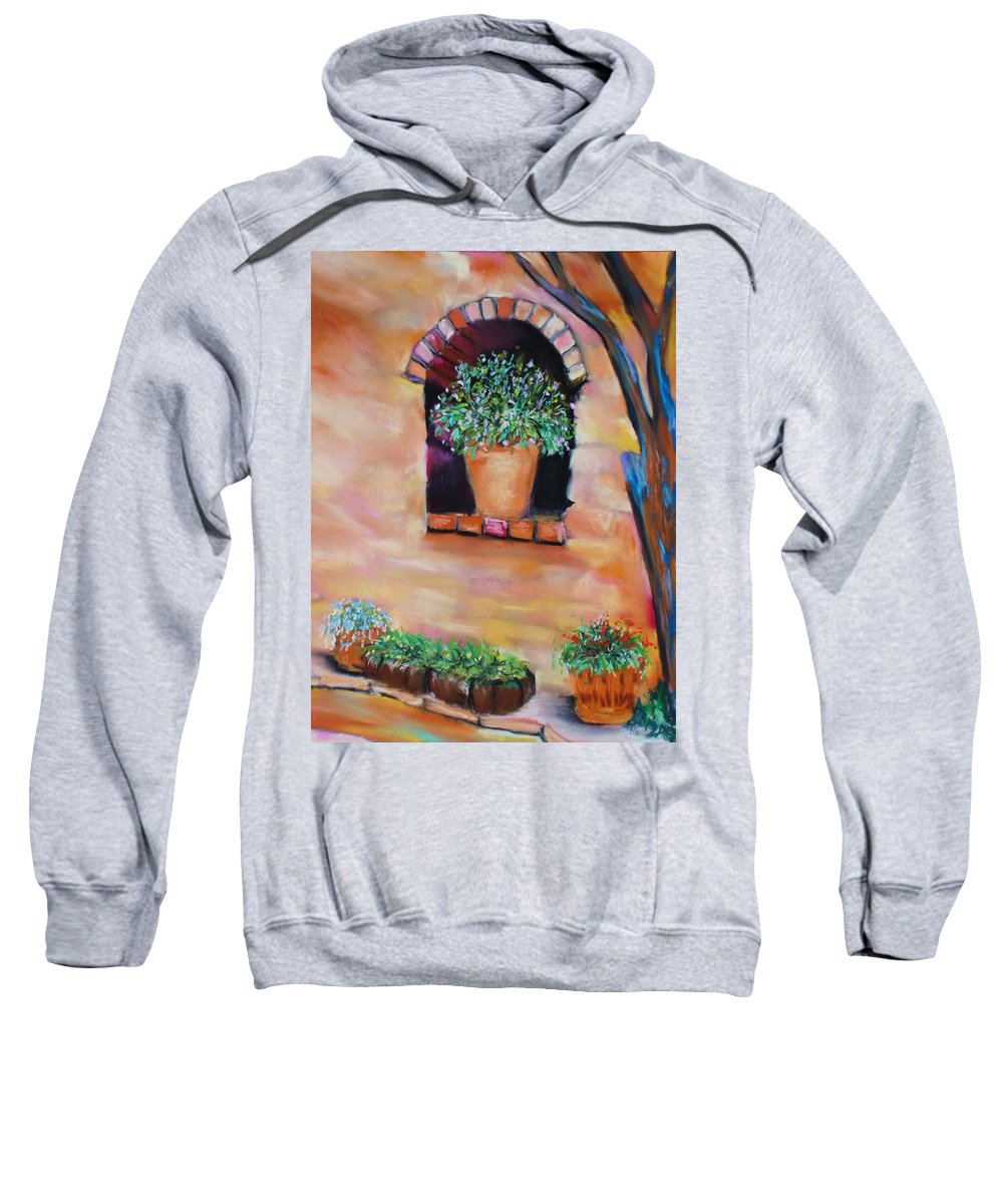 Courtyard Sweatshirt featuring the painting Nash's Courtyard by Melinda Etzold