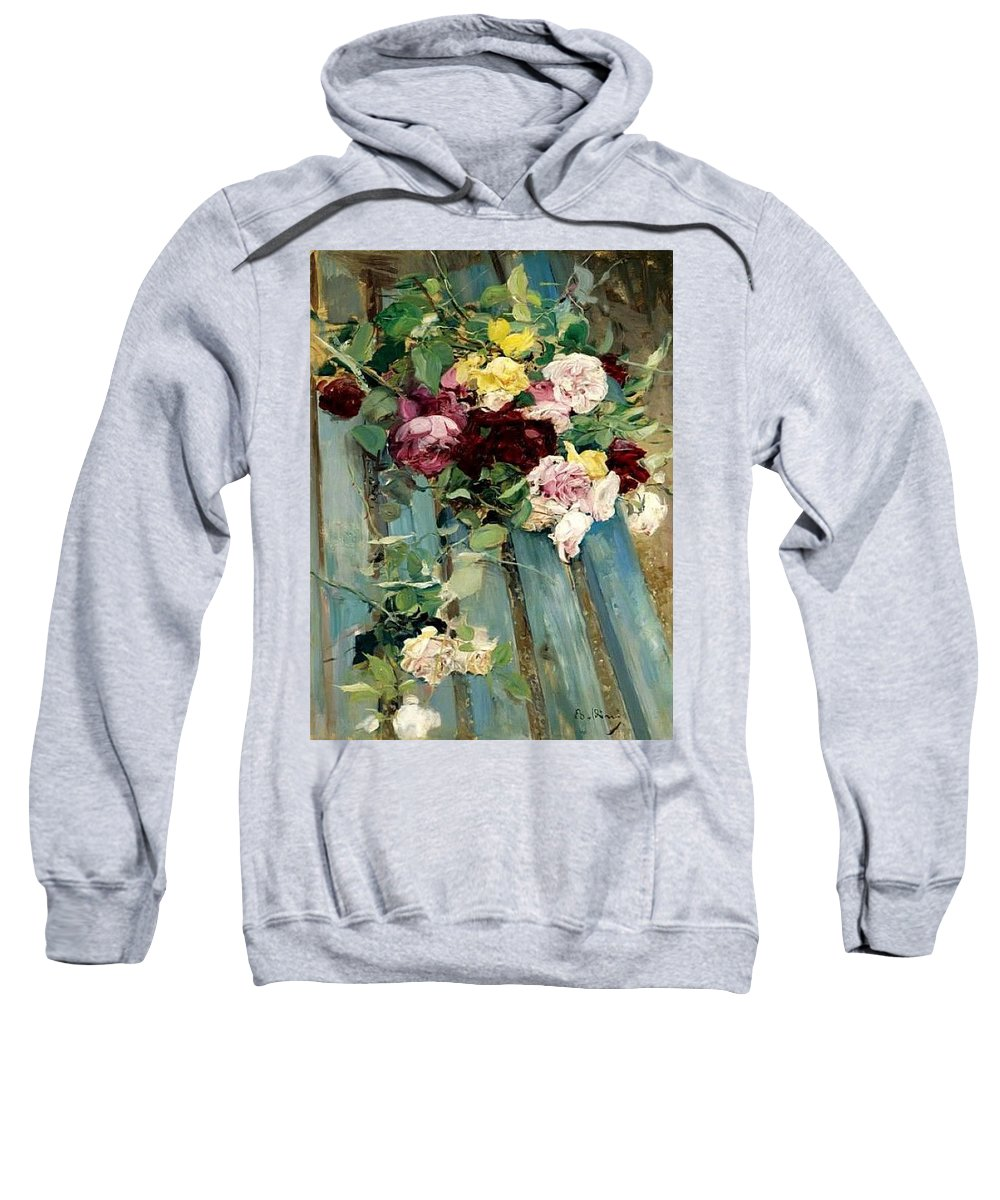 Bouquet Sweatshirt featuring the digital art Natura Morta Con Rose Giovanni Boldini by Eloisa Mannion
