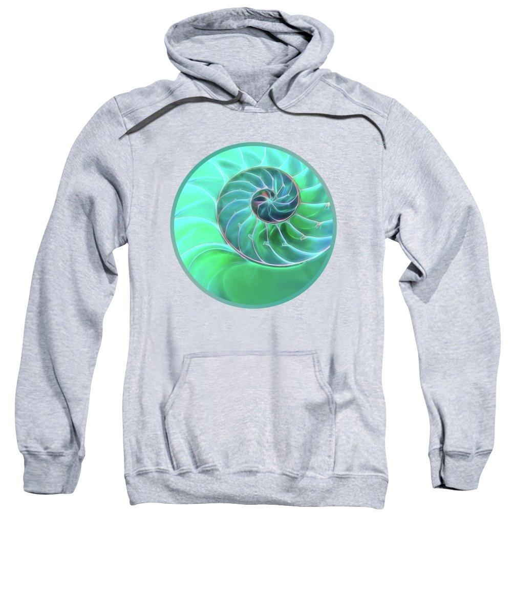 Nautilus Shell Sweatshirt featuring the photograph Nautilus Aqua Spiral by Gill Billington