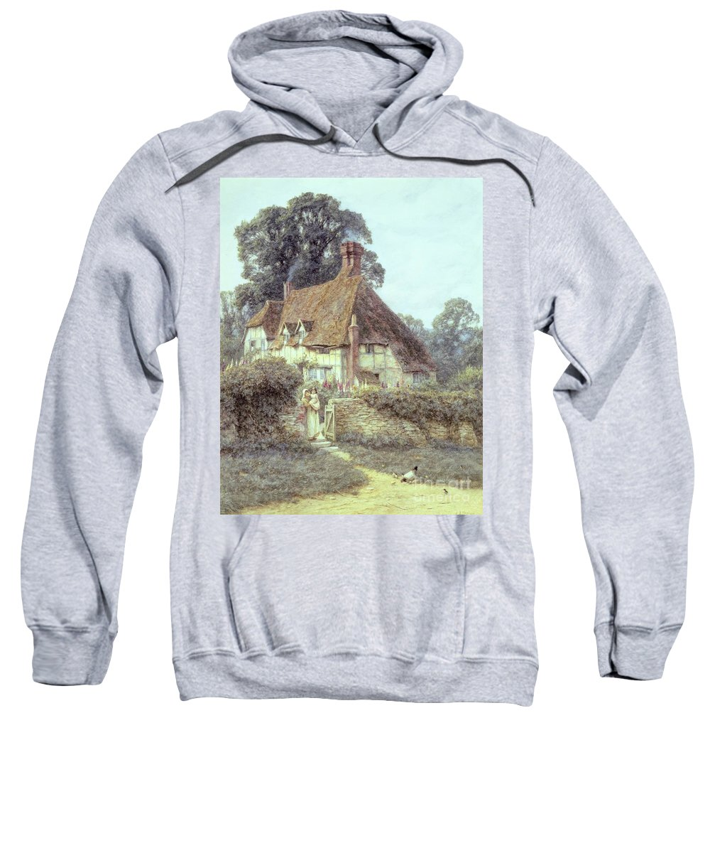 Cottage; Mother And Child; Gate; Rural Scene; Country; Countryside; Home; Path; Garden; Wildflowers; Chicken; Roses; Picturesque; Idyllic; Daughter; Timber Frame; Half-timbered; House; Female Sweatshirt featuring the painting Near Witley Surrey by Helen Allingham