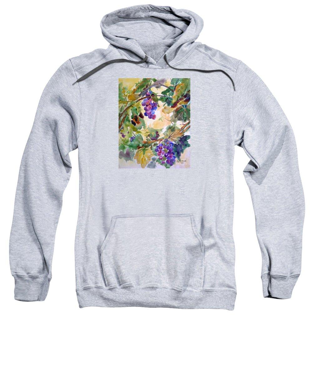 Paintings Sweatshirt featuring the painting Neighborhood Grapevine by Kathy Braud