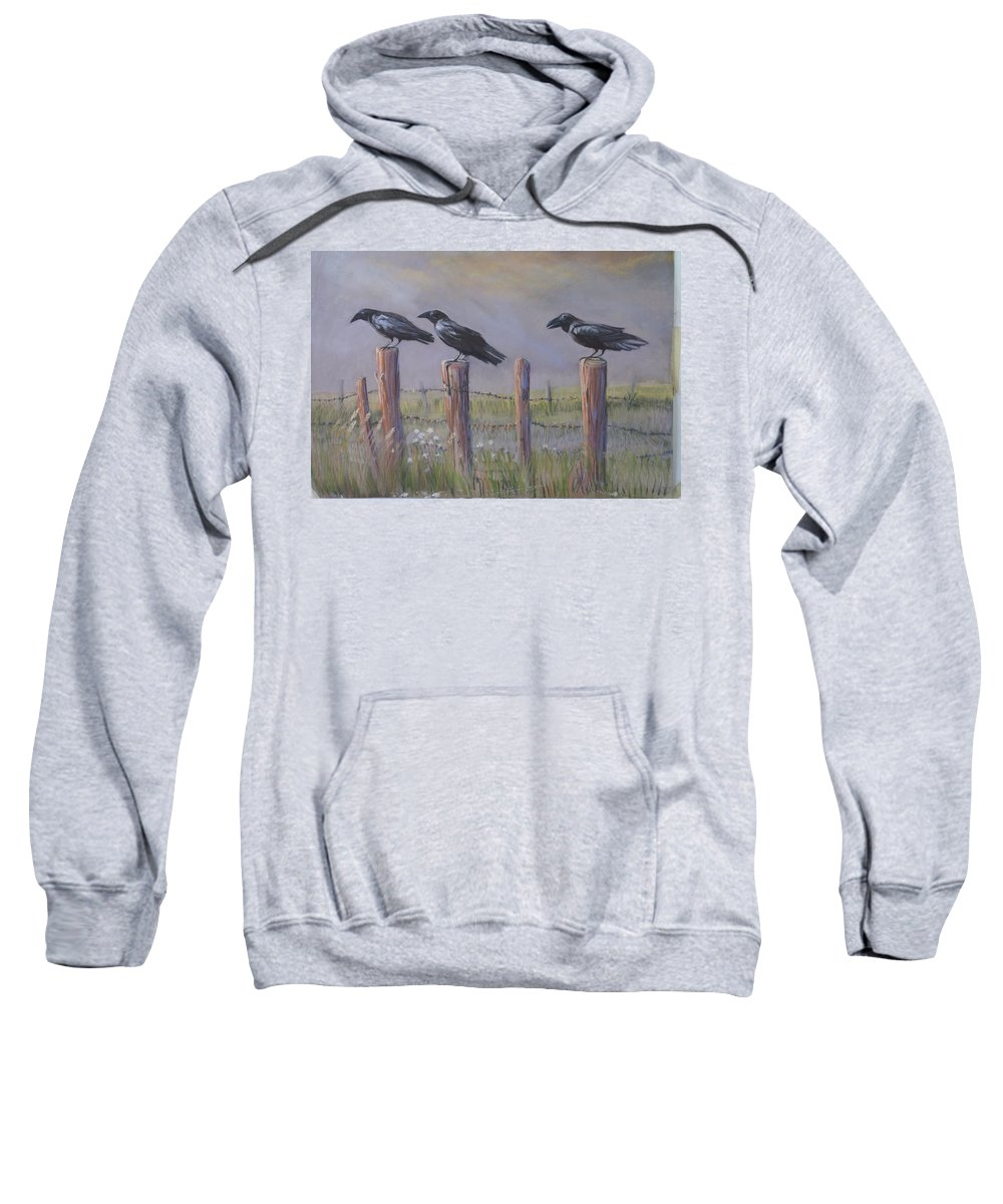 Crows Sweatshirt featuring the painting Neighborhood Watch by Heather Coen
