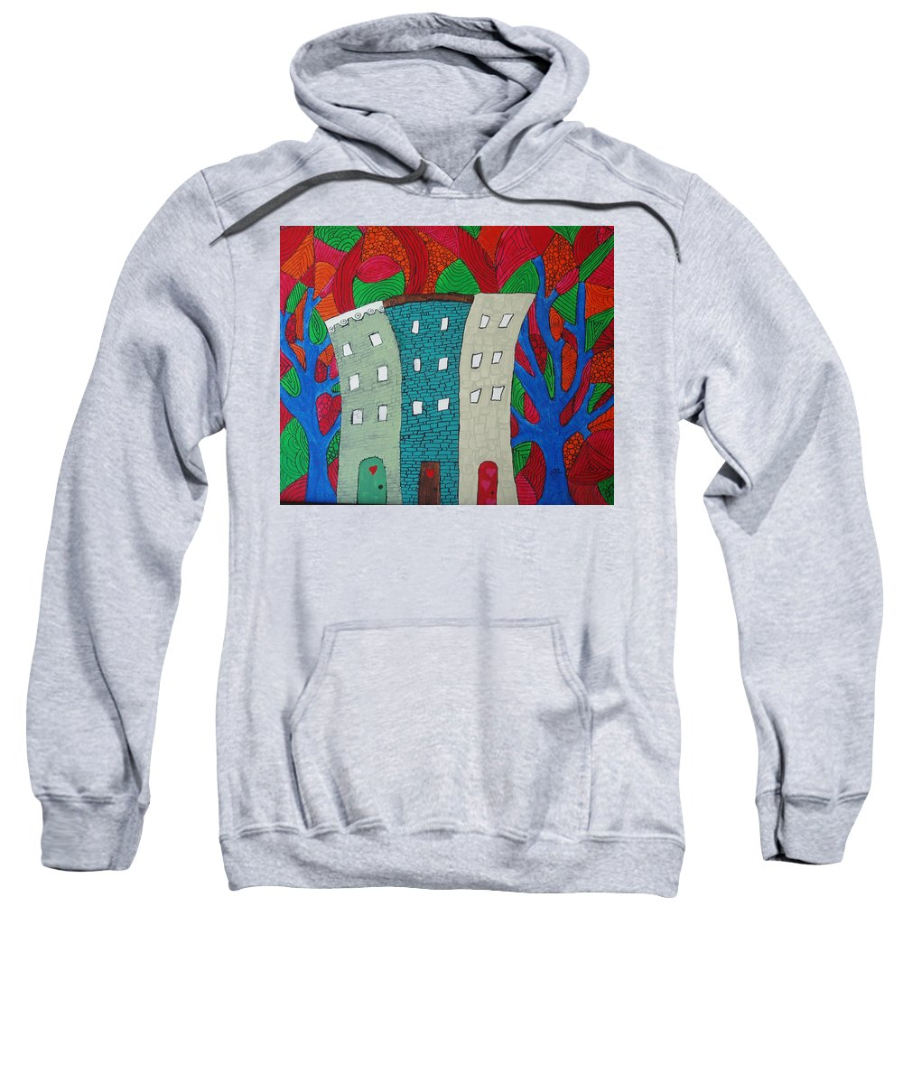Houses Sweatshirt featuring the painting Neighbors by Wayne Potrafka