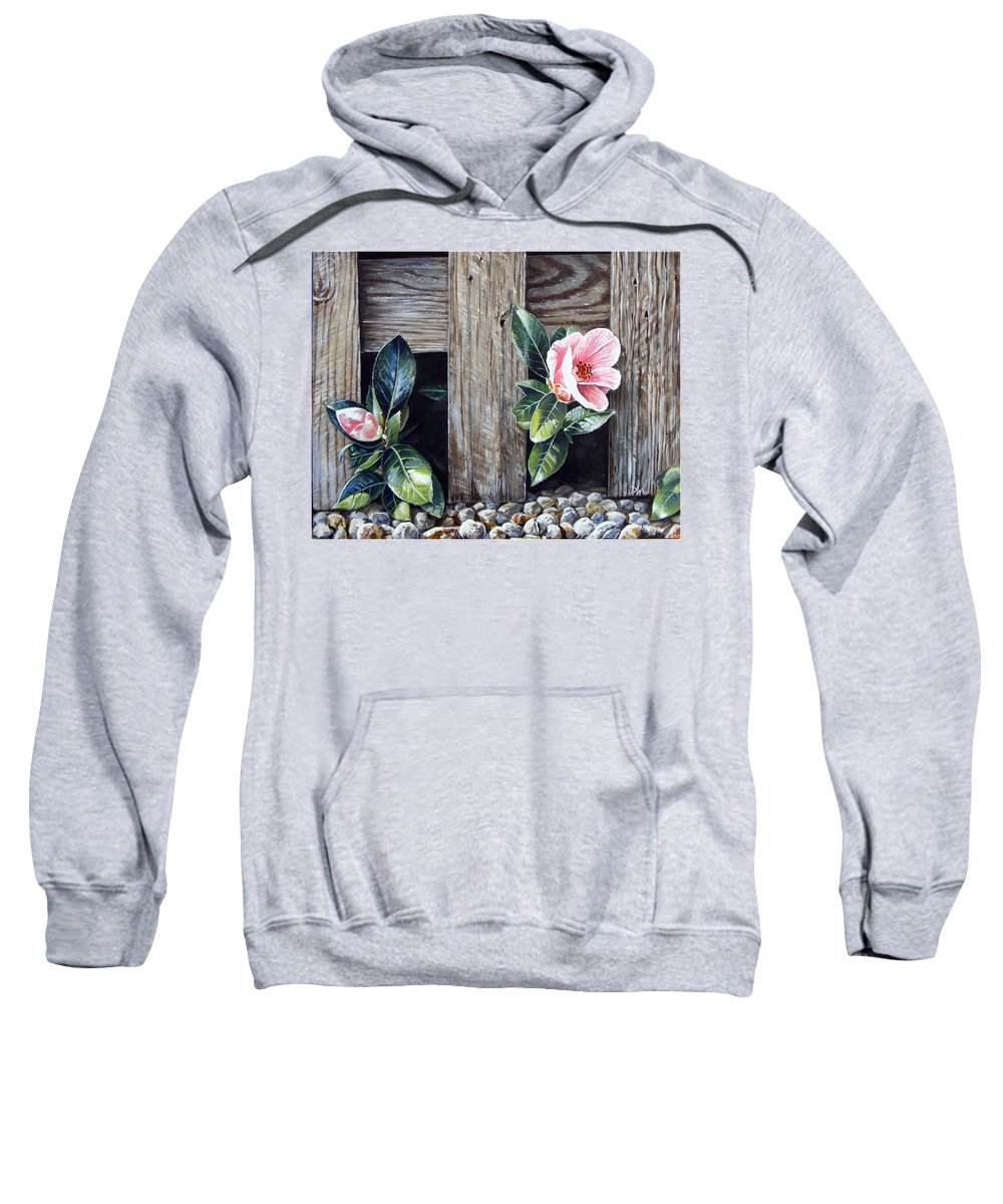 Flower Pink Acrylics Neighbours Fence Wood Leaves Sweatshirt featuring the painting Neighbours by Arie Van der Wijst