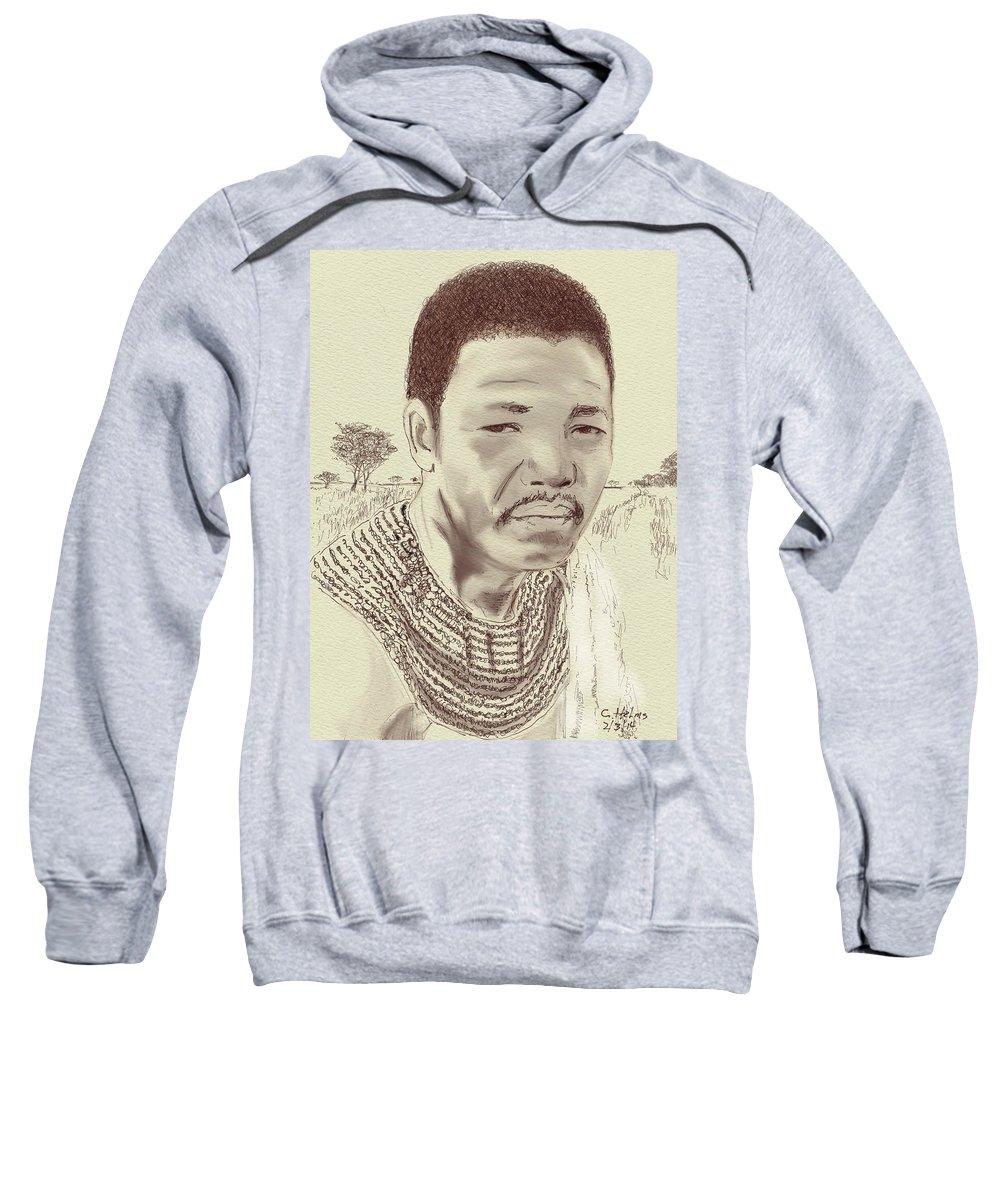 Nelson Mandela Sweatshirt featuring the digital art Nelson Mandela by Clinton Helms
